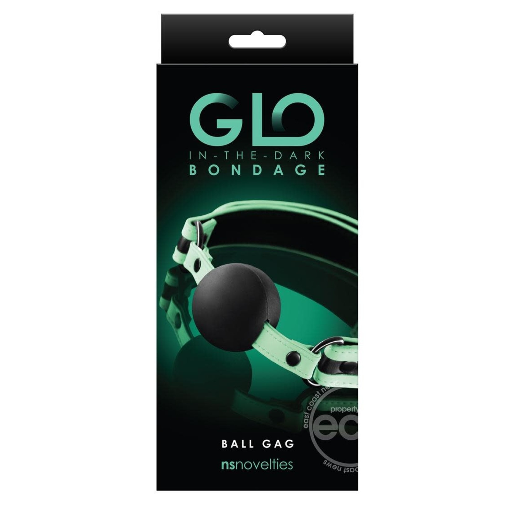 GLO Bondage Glow In The Dark Ball Gag - Green