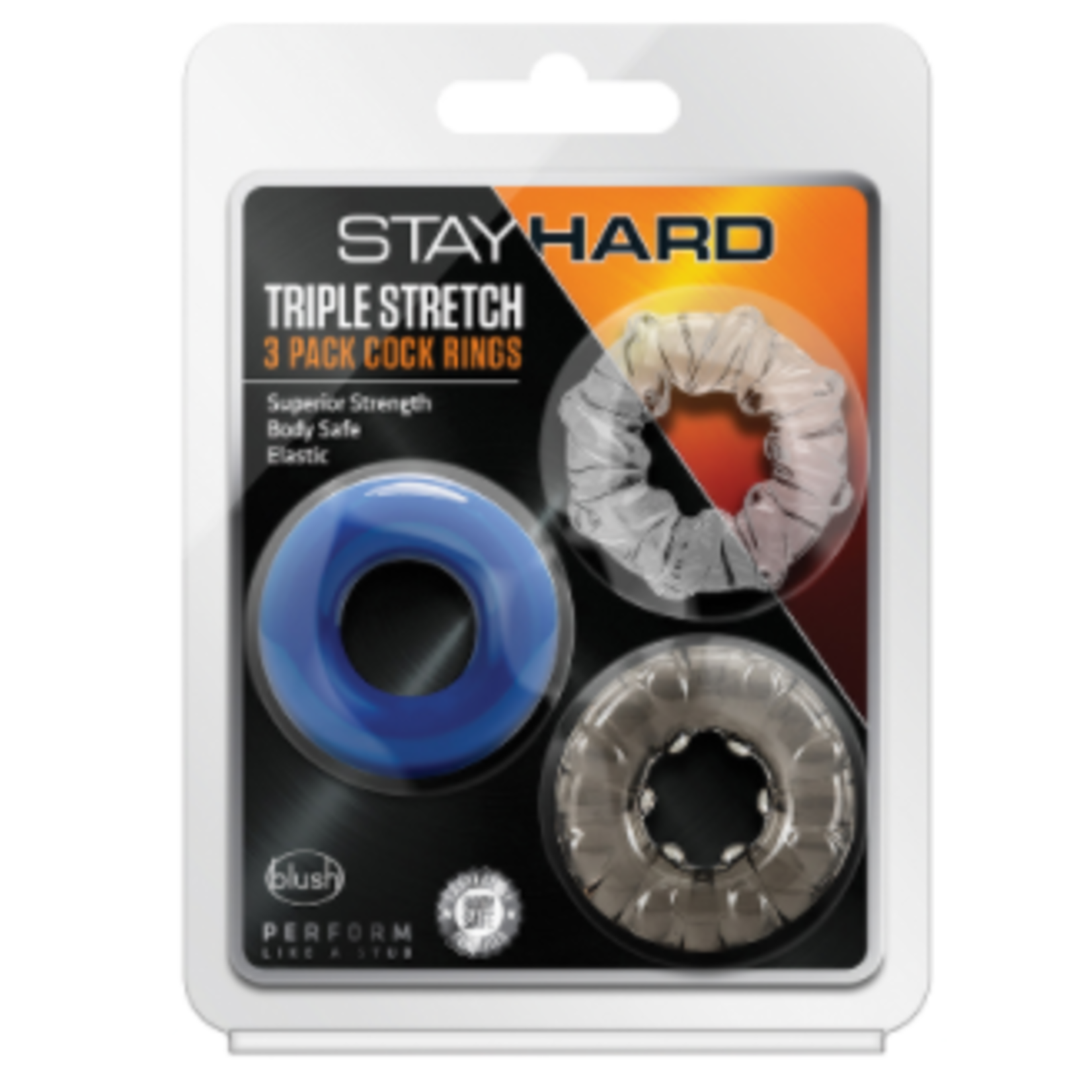 Stay Hard Triple Stretch Cock Rings (3 Pack) - Multiple Colors