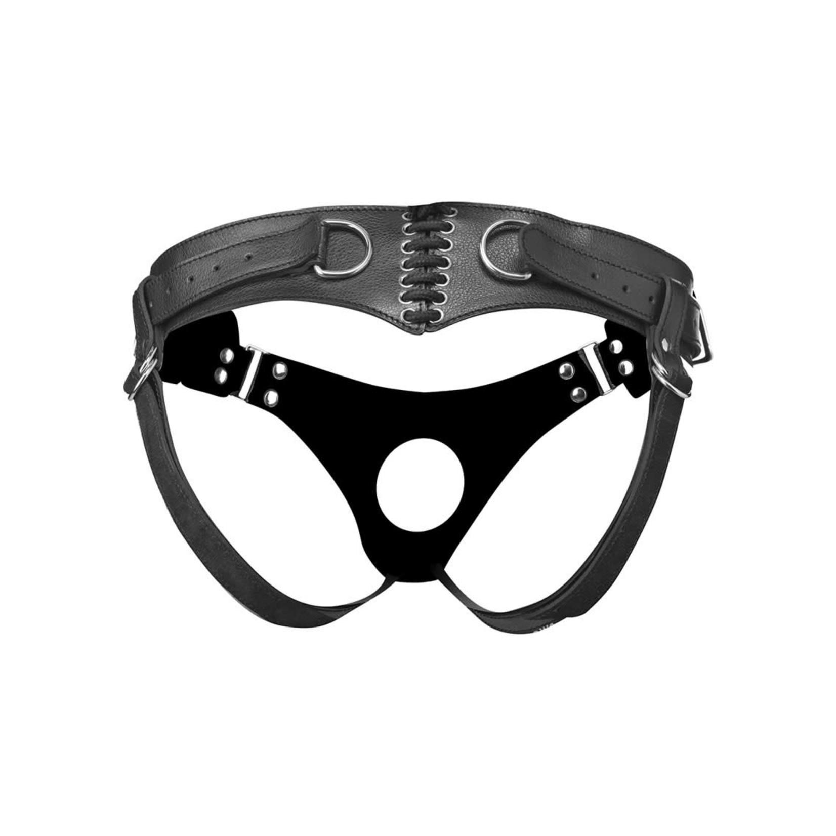 Strap U Bodice Corset Style Strap On Harness - Black