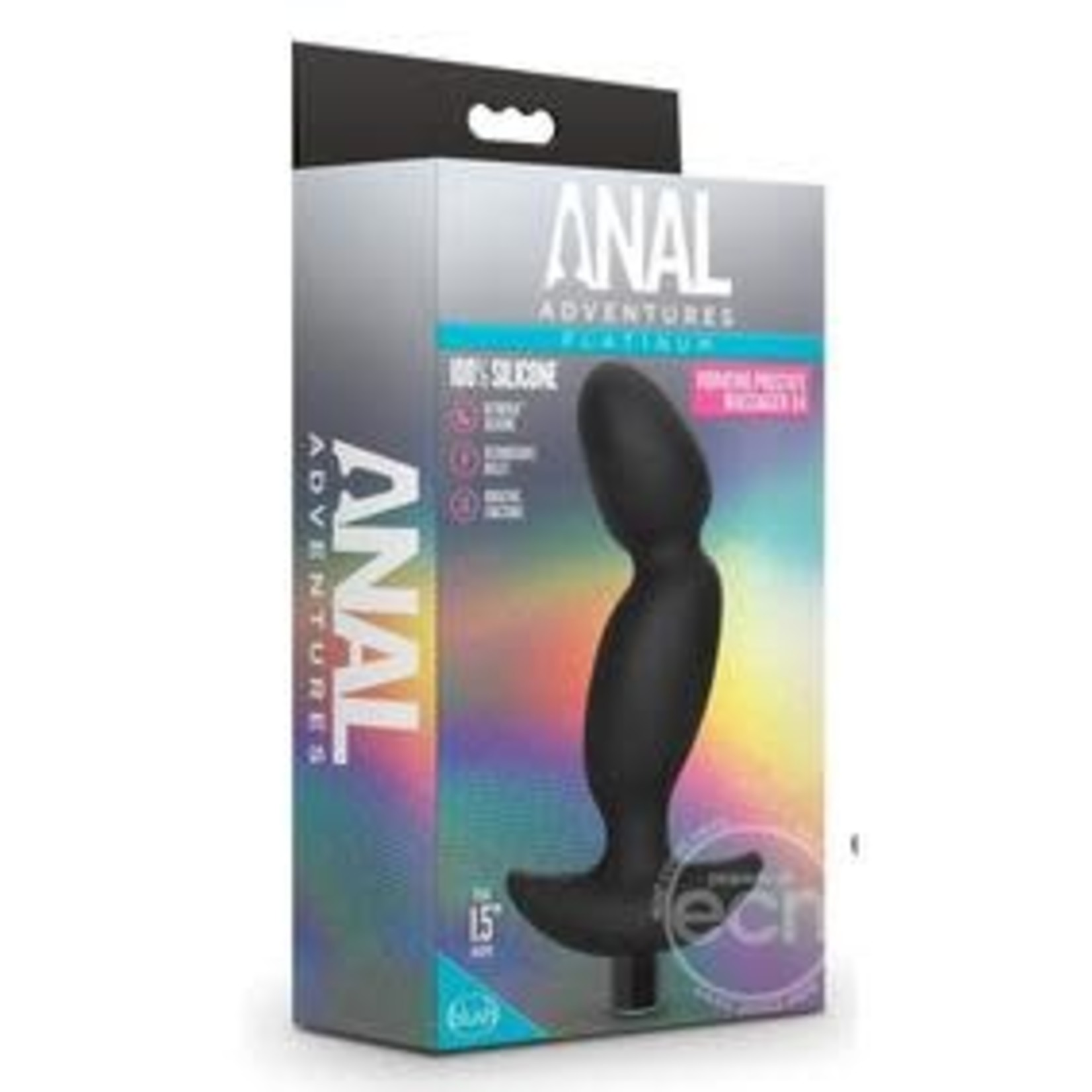 Anal Adventures Platinum Silicone Rechargeable Vibrating Prostate Massager 04 - Black