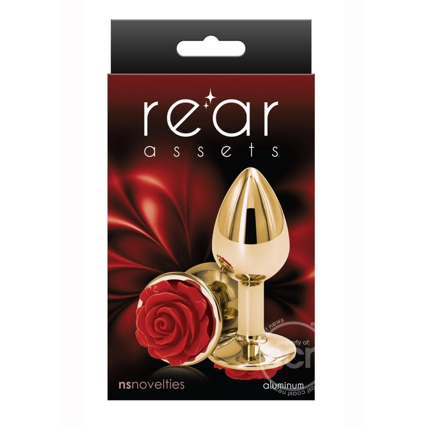 Rear Assets Rose Aluminum Anal Plug - Small - Red/Gold