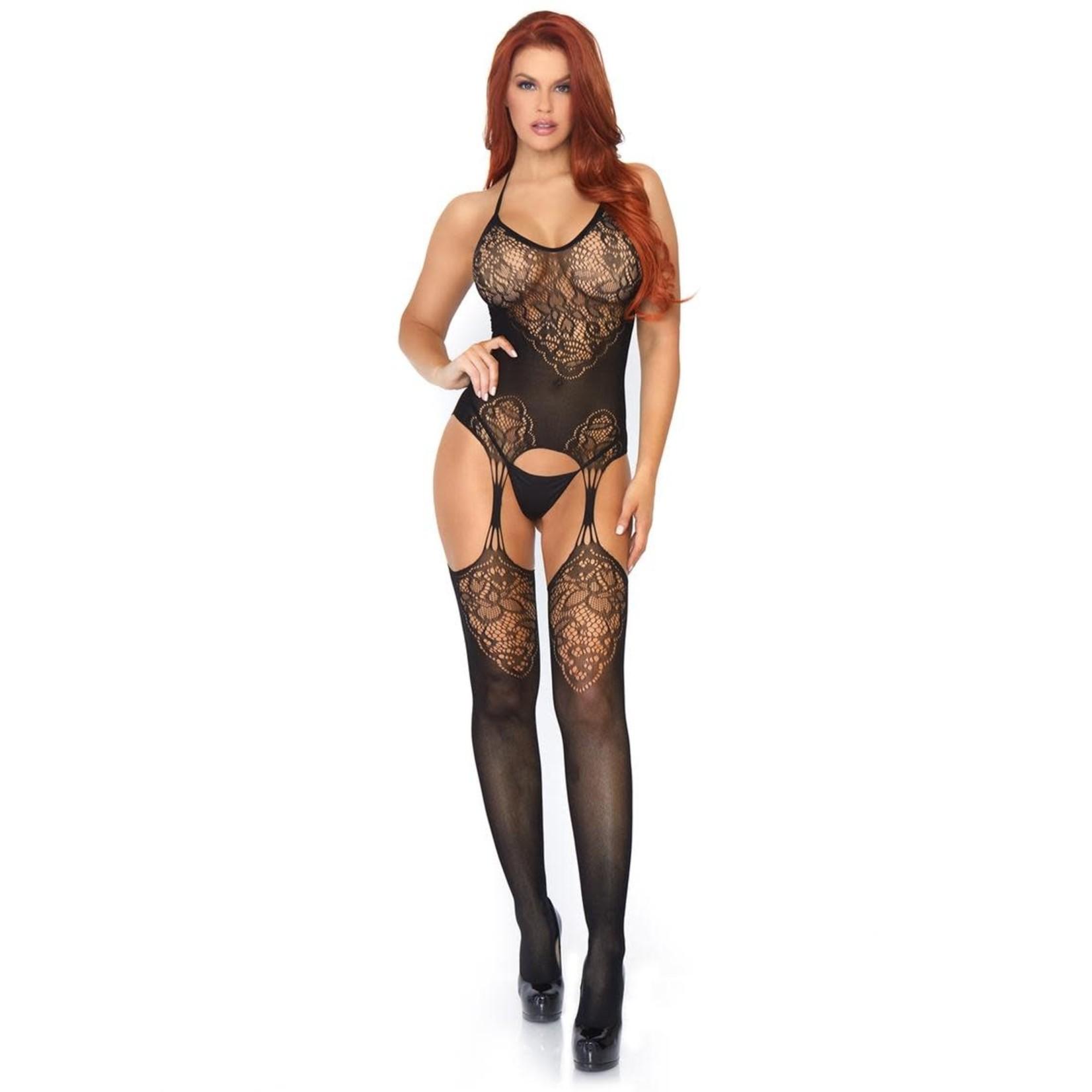 Leg Avenue Seamless Lace Jacquard Net Suspender Bodystocking - O/S - Black