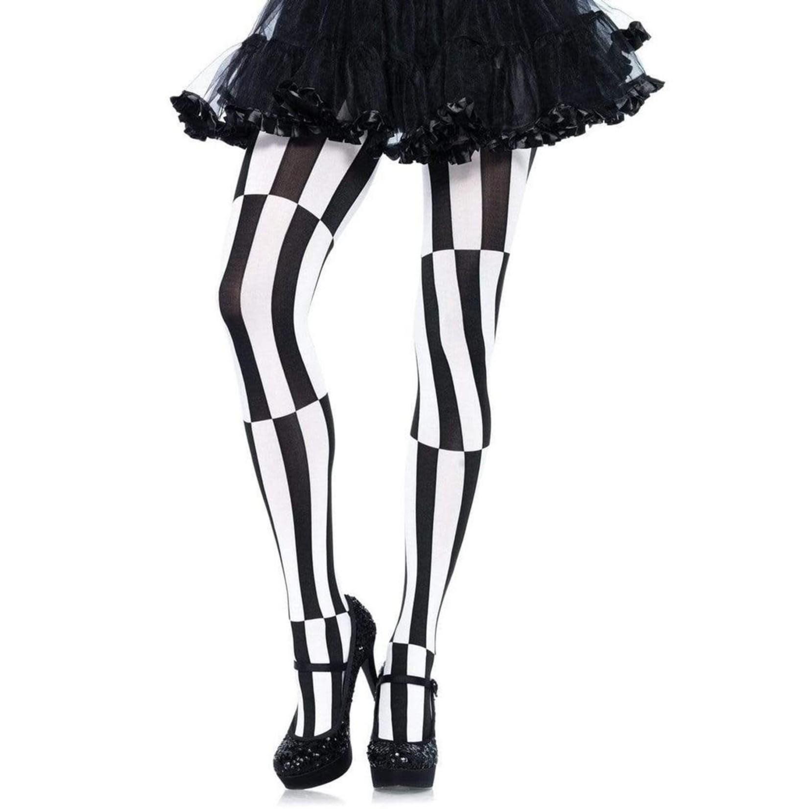 Leg Avenue Woven Opaque Striped Optical Illusion Pantyhose 1X-2X - Black/White