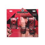 Master Series Cuffed Embossed Wrist Cuffs - Black & Red