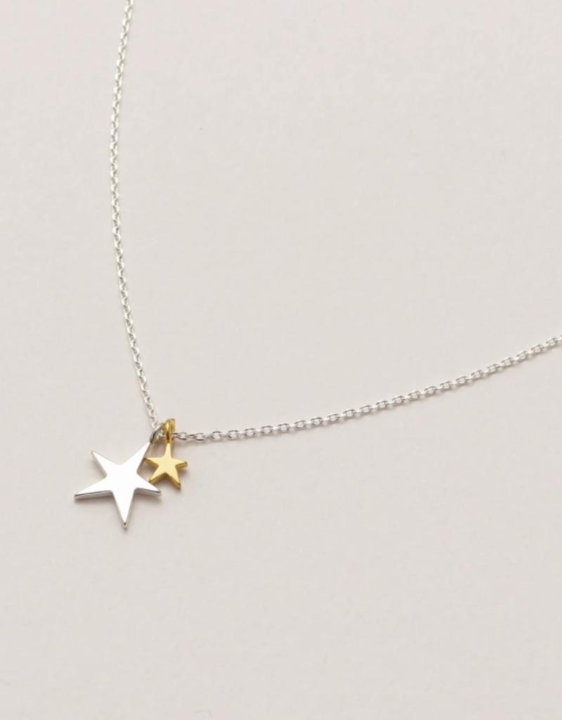 Estella Bartlett Estella B 2-Tone Double Star Silver Necklace