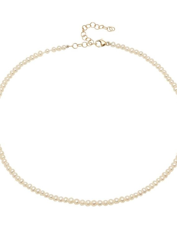 Victoria Six Victoria 6 Tiny Pearl Adjust Choker Gold Neck
