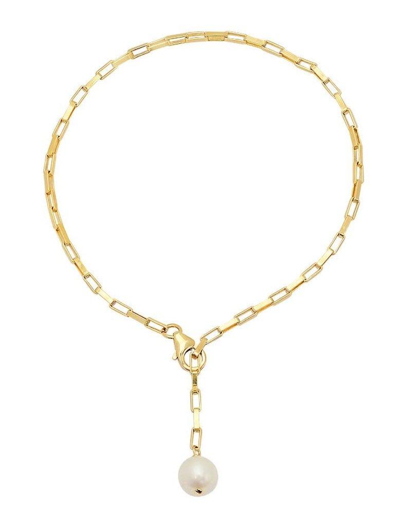 Victoria Six Victoria 6 Rect Link Pearl Drop Gold Brace