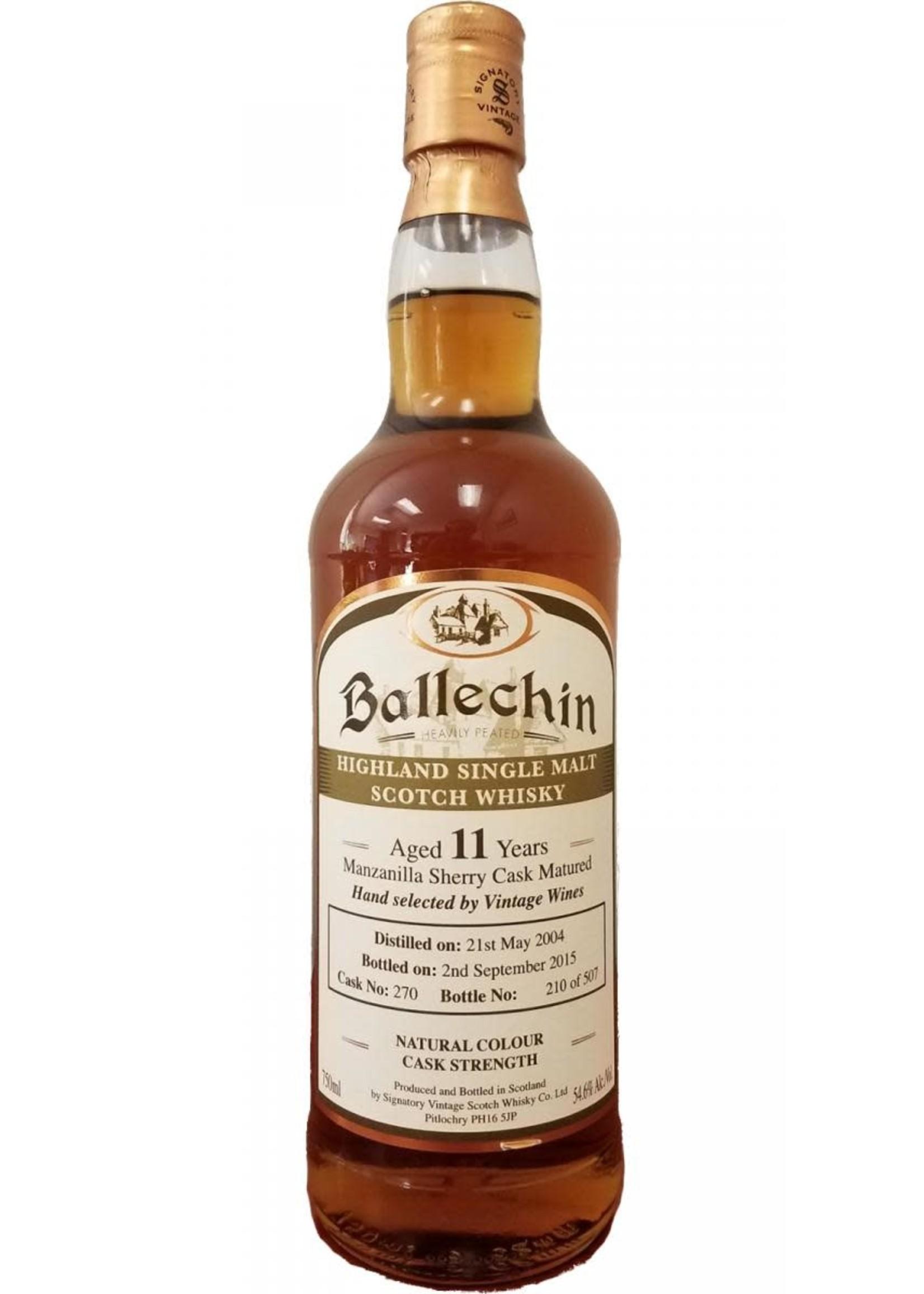 Signatory 2004 Ballechin Manzanilla 11 Yr Scotch 109.2 PF 750ml
