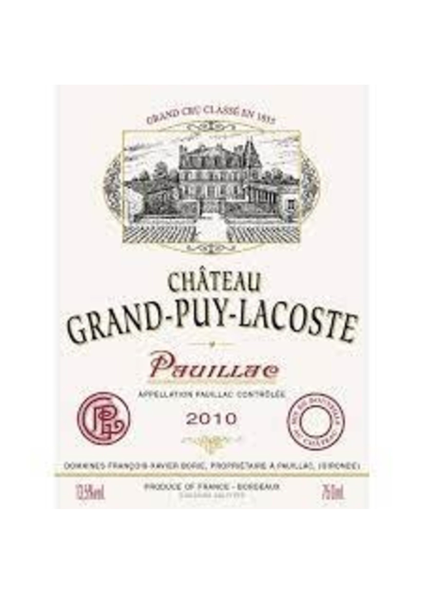 Chateau Grand-Puy-Lacoste 2010 Pauillac 12bt OWC [PRE-ARRIVAL]