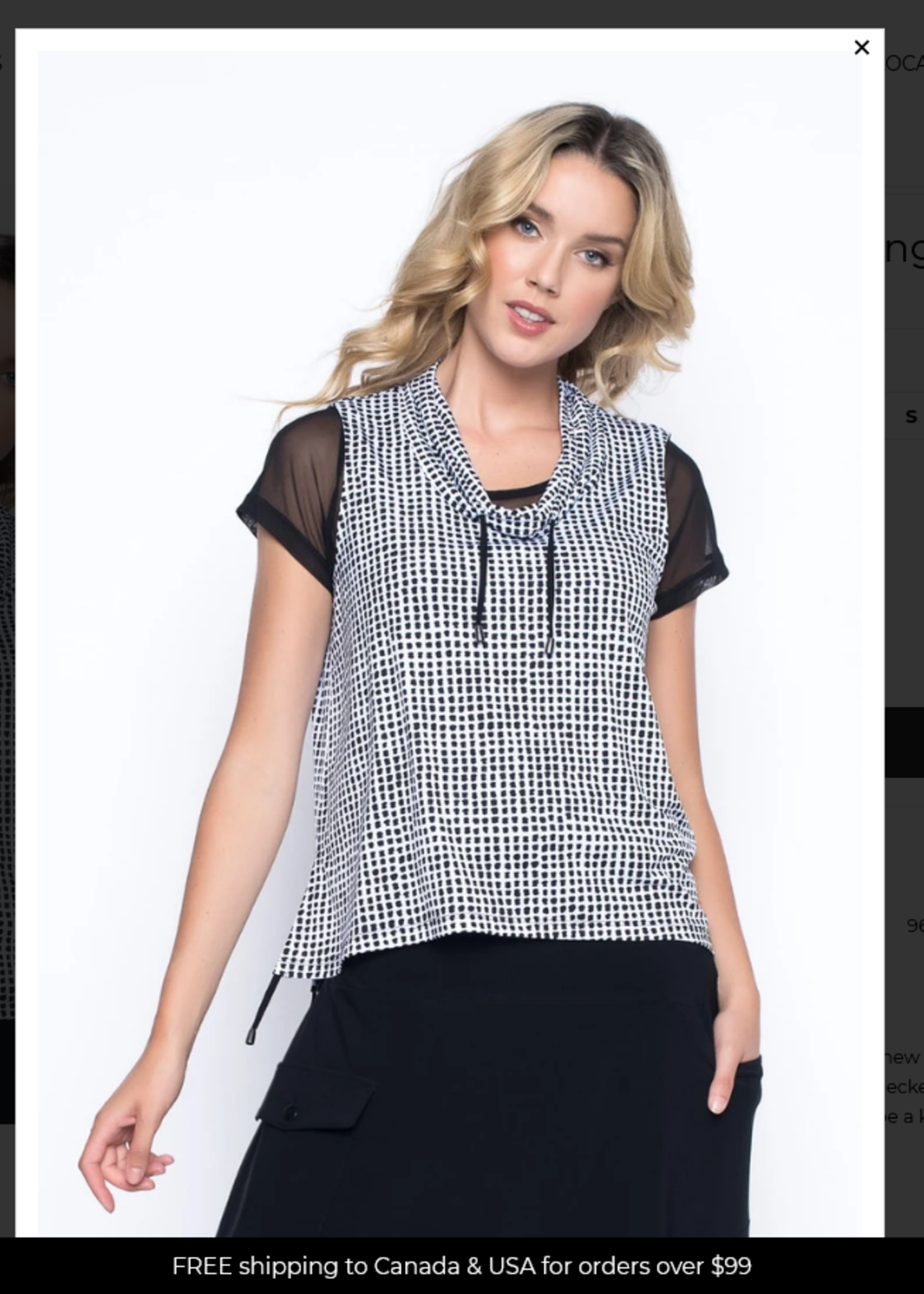 PICADILLY Drawstring Collar Cropped Vest