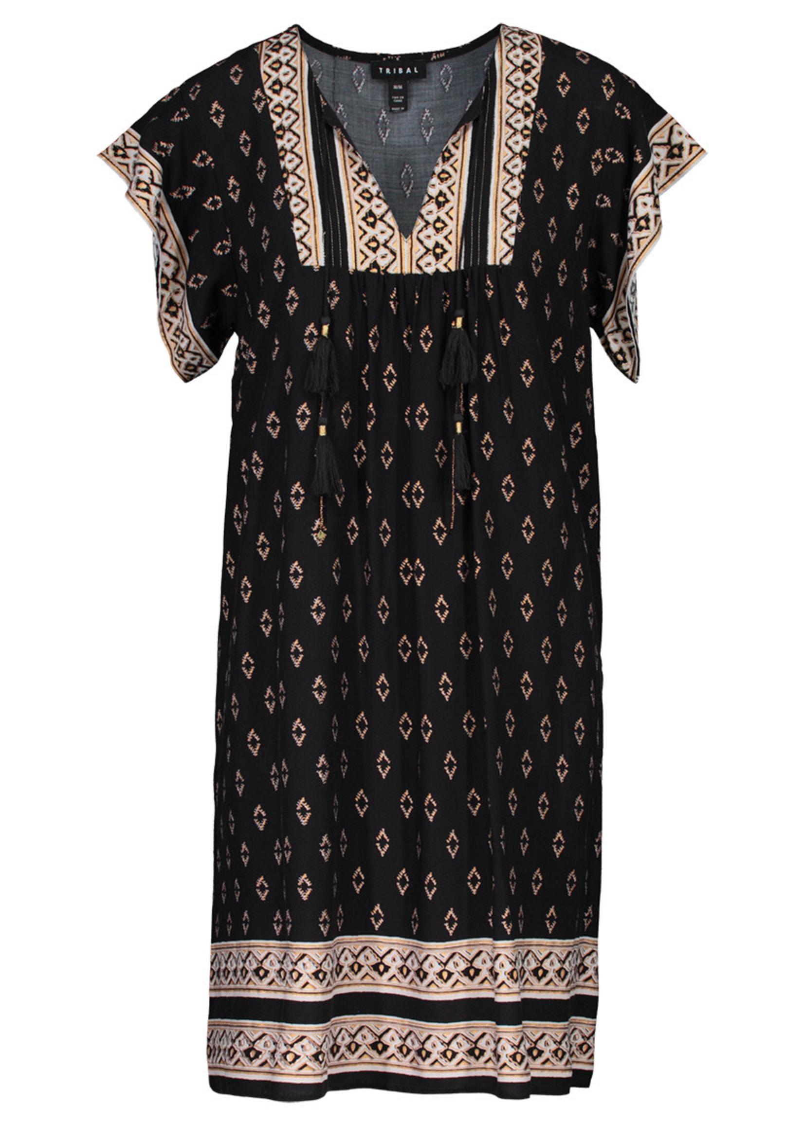 Tribal Short Sleeve Dress with Tassels 45370/3277