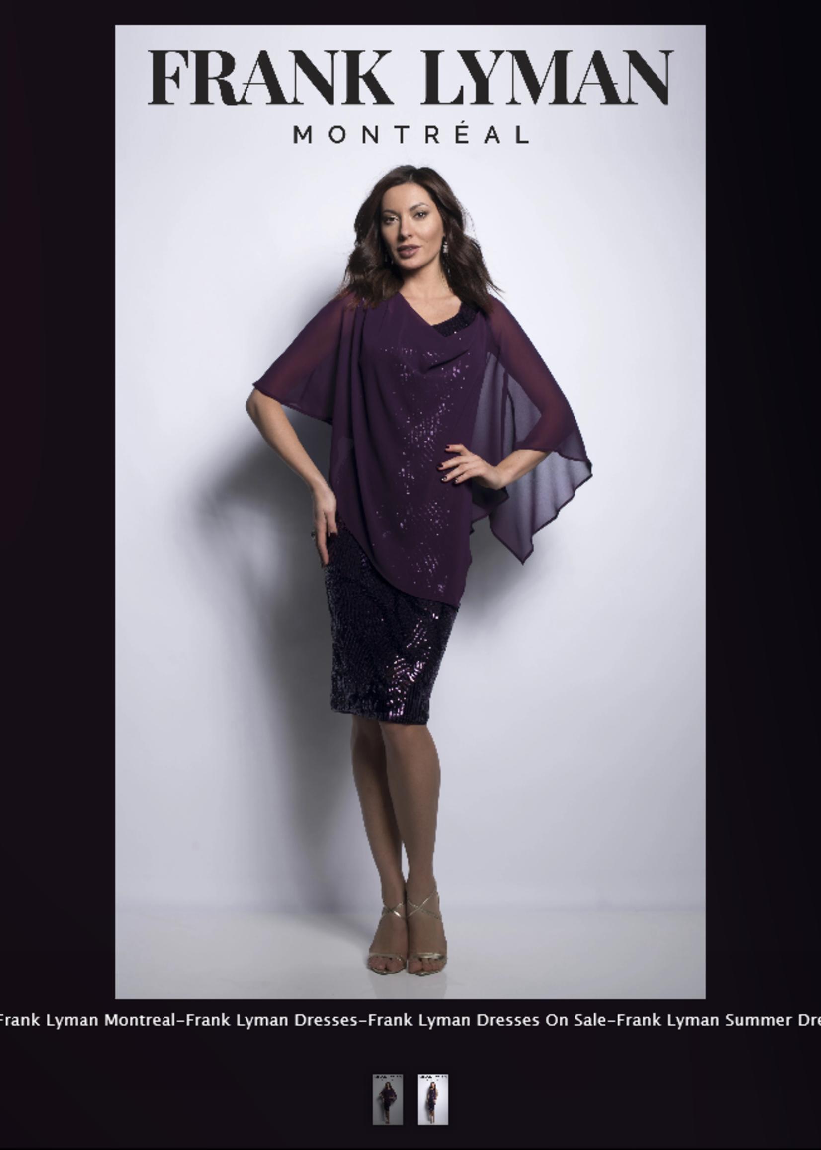FRANK LYMAN Burgundy sparkle dress with shear