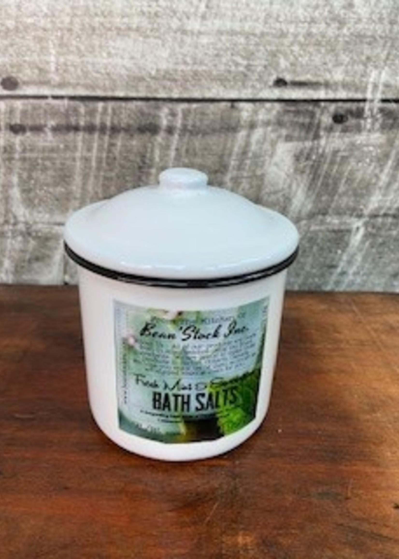 Bean stock Bath Salts Enamelware - Fresh Mint & Eucalyptus