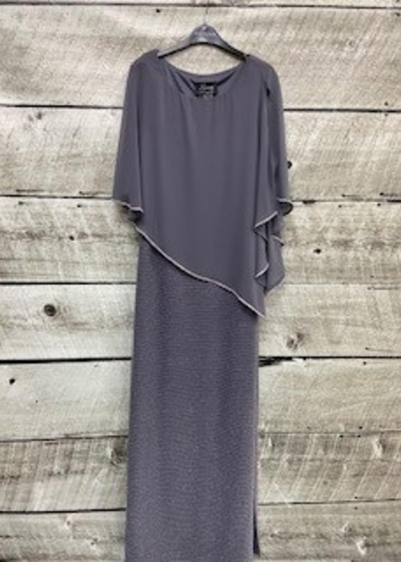 FRANK LYMAN Long Dress with side shear cover/rhineston
