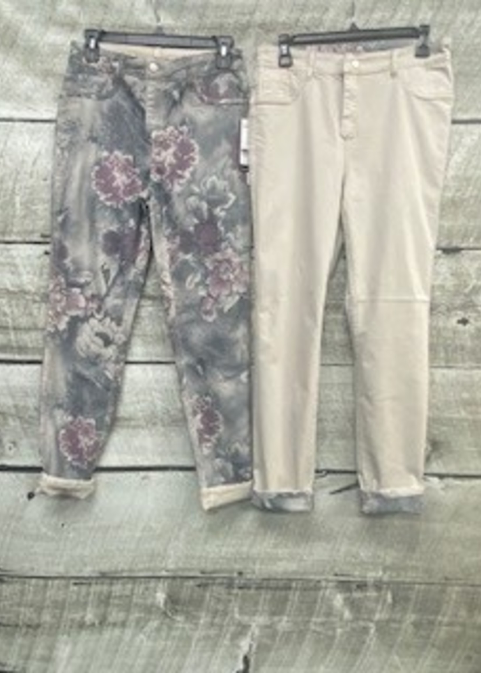 FRANK LYMAN Floral/Beige Reversible Jeans 211111U