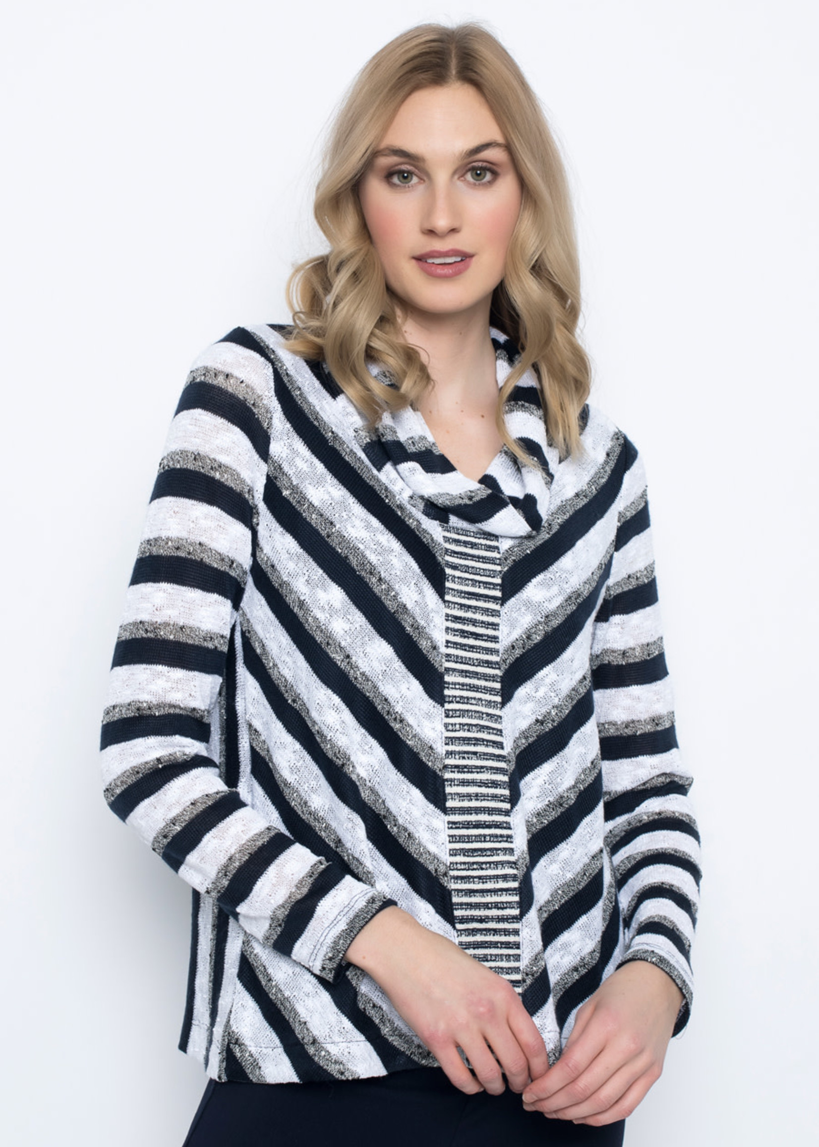 PICADILLY Long Sleeve Draped Neck Top