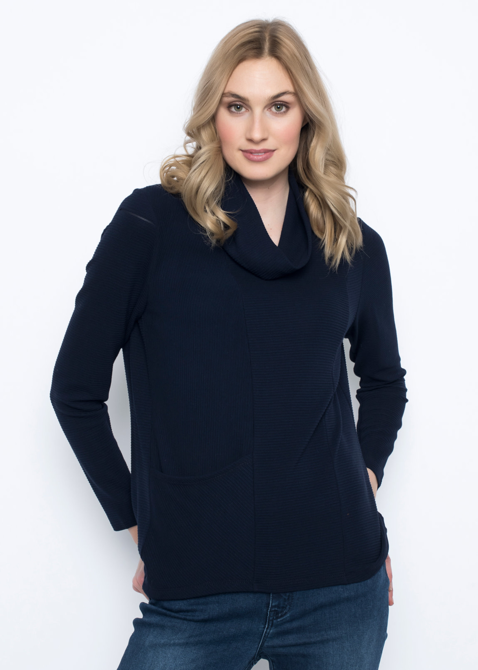 PICADILLY Long Sleeve Draped Neck Top RX721
