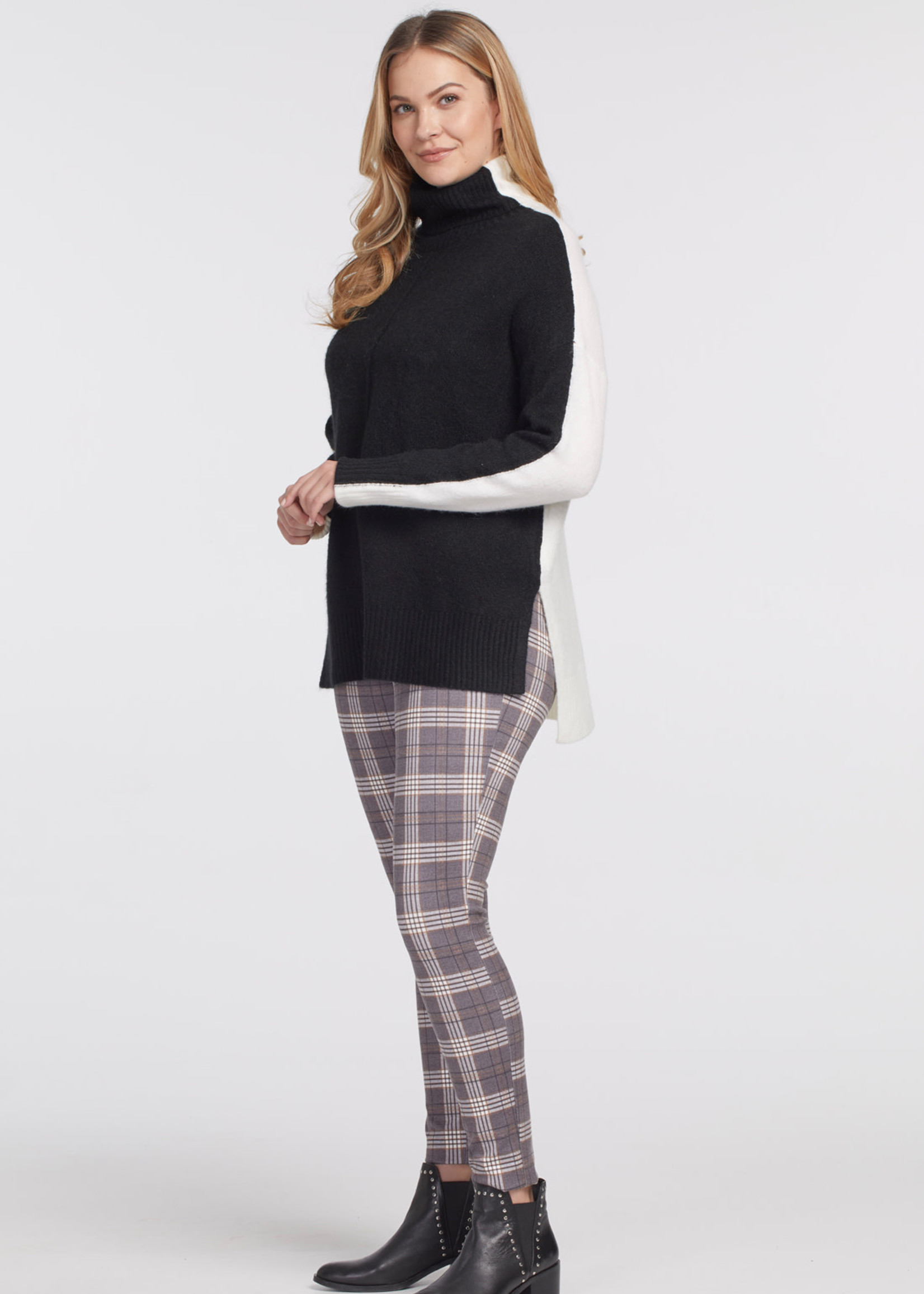 Tribal L/S Turtle Neck Color Block Sweater 43920/3166