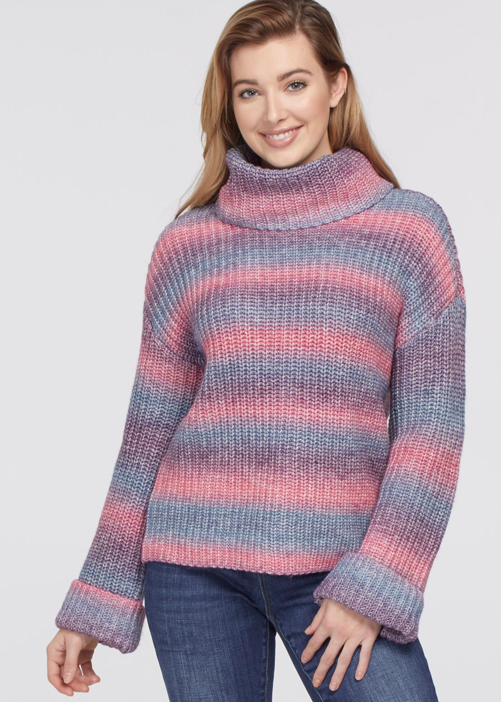 Tribal Cowl Neck Long Sleeve Sweater 67640