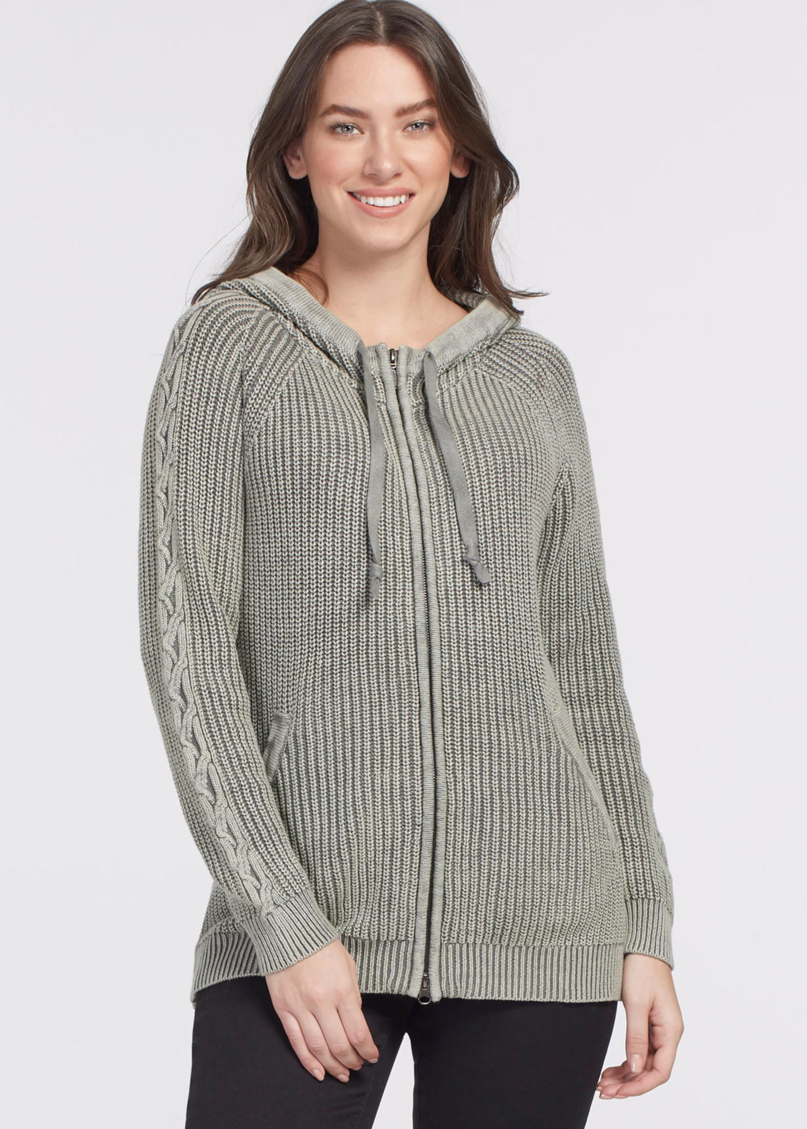 Tribal Long Sleeve Zip Front Hoodie Sweater 47340
