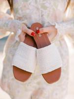 Elitaire Boutique Crete White Frayed Slip-On