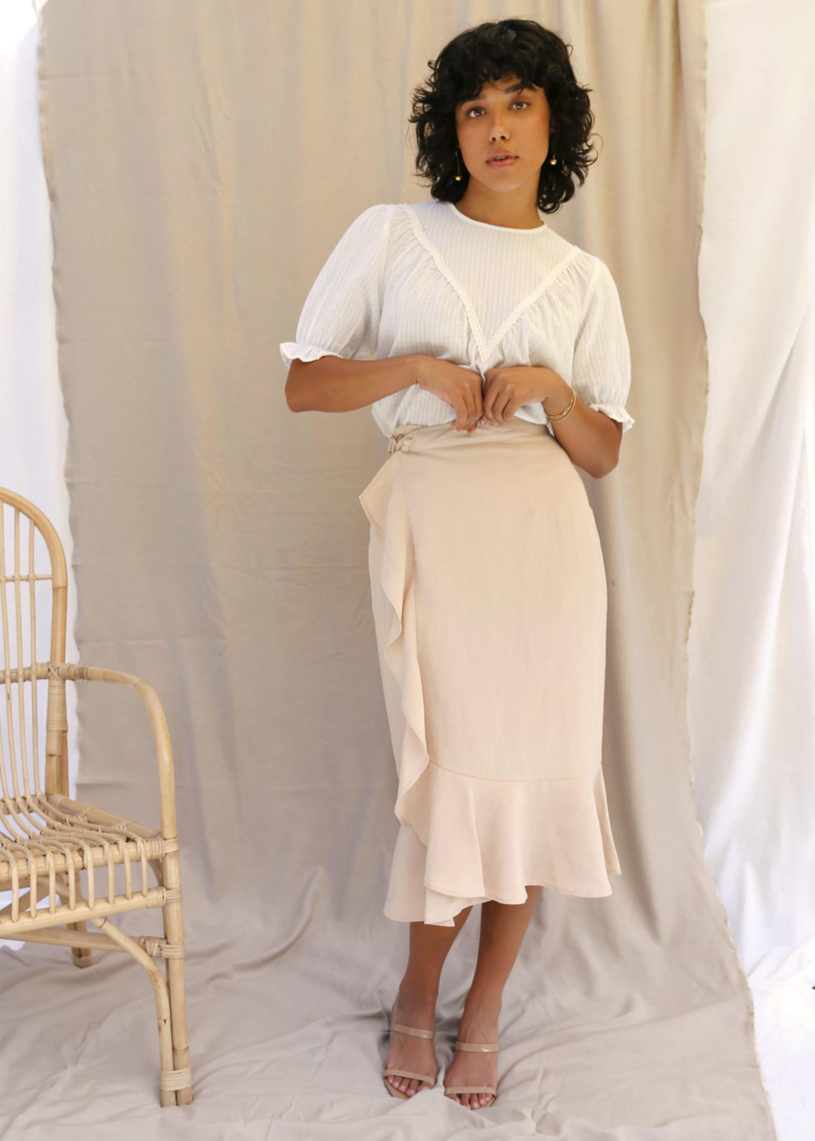 Elitaire Boutique Britt Ruffled Tan Midi Skirt