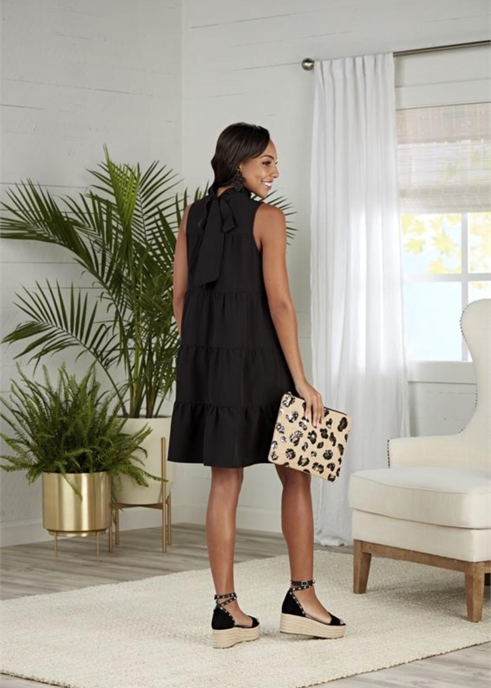 Elitaire Boutique Nat Black Bow Tie Dress