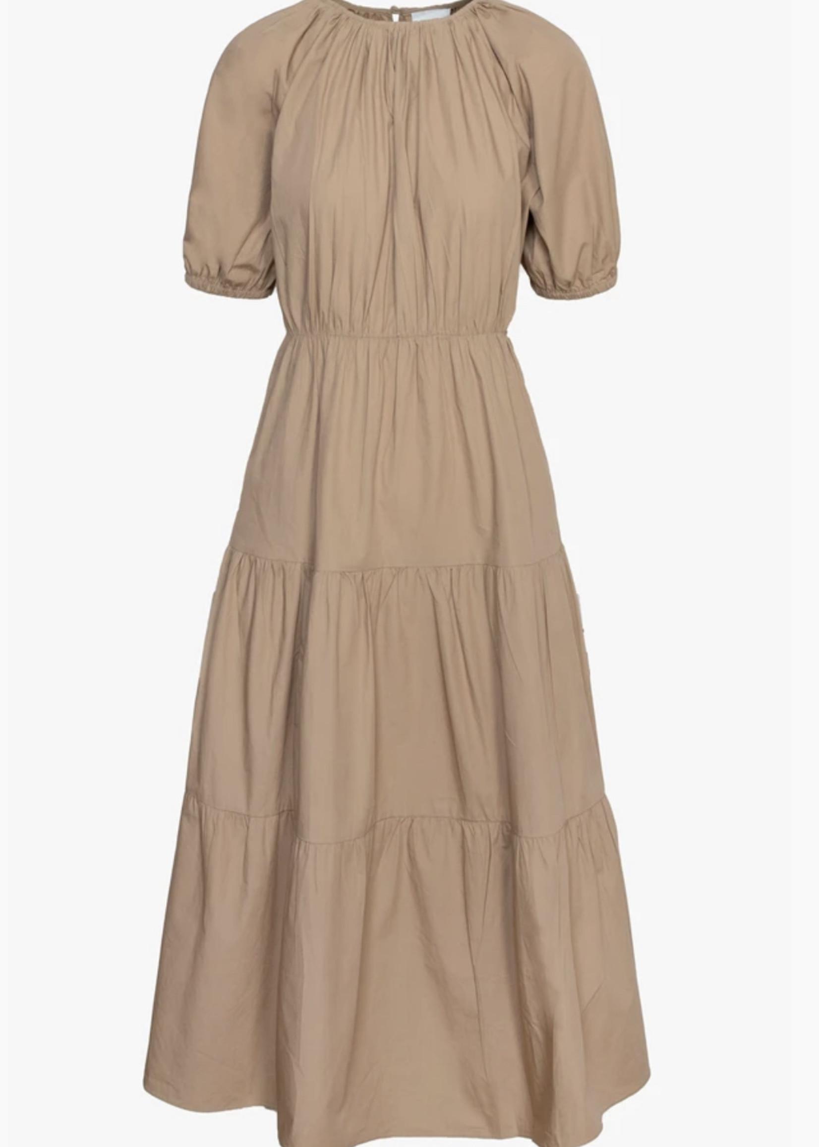 Elitaire Boutique Poplin Tiered Tan Midi Dress
