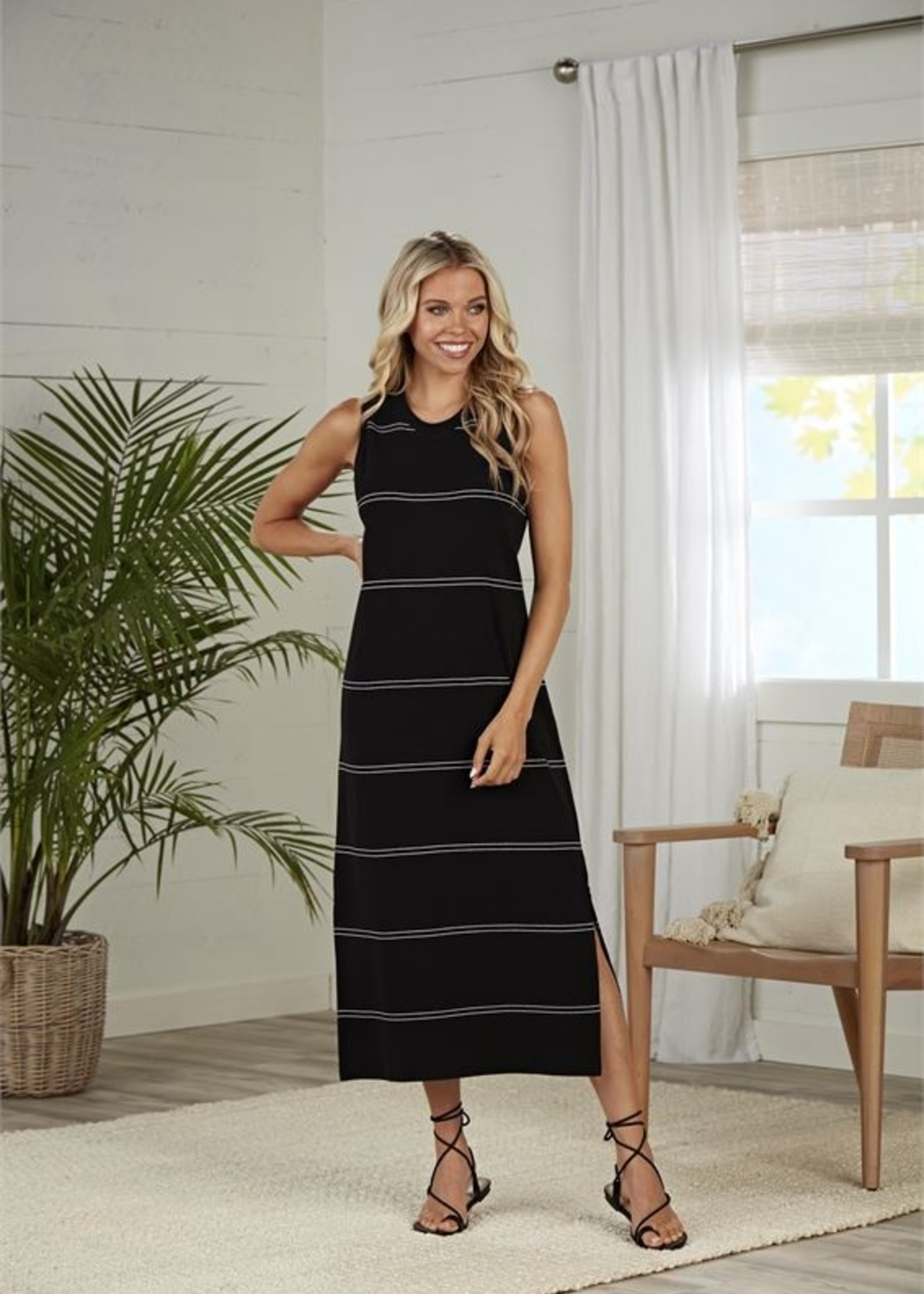 Elitaire Boutique Quinn Black Stripe Midi