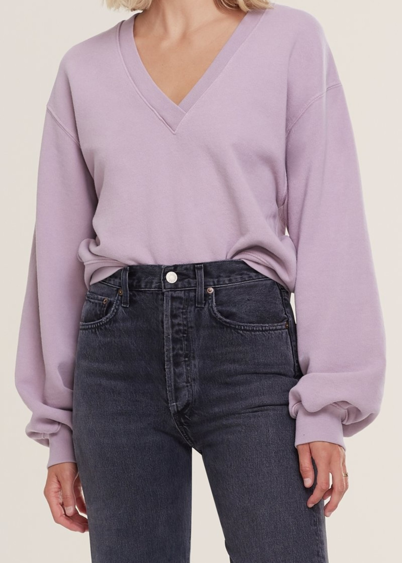 Elitaire Boutique Balloon Sleeve Sweatshirt in Taro