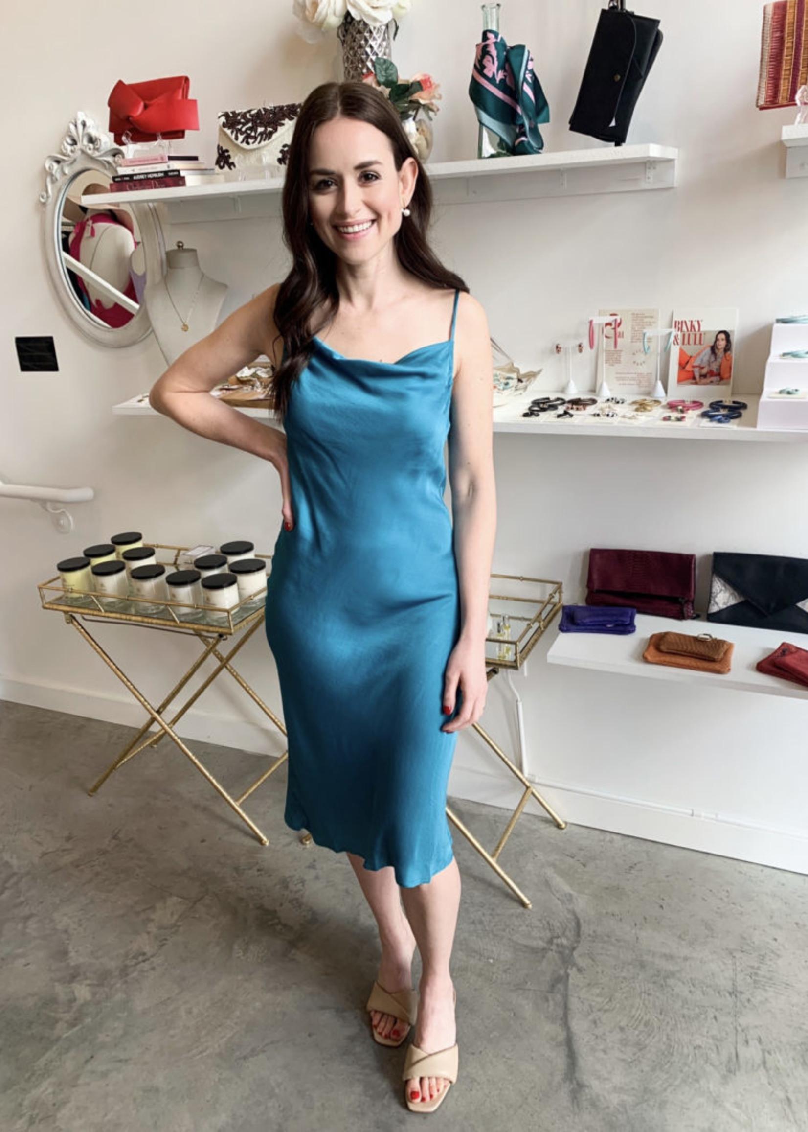 Elitaire Boutique Peacock Blue Slip Dress