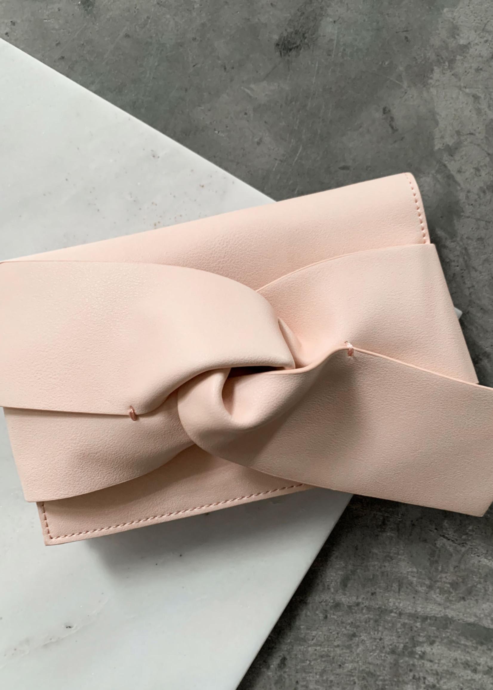Elitaire Boutique Blush Bow Leather Clutch