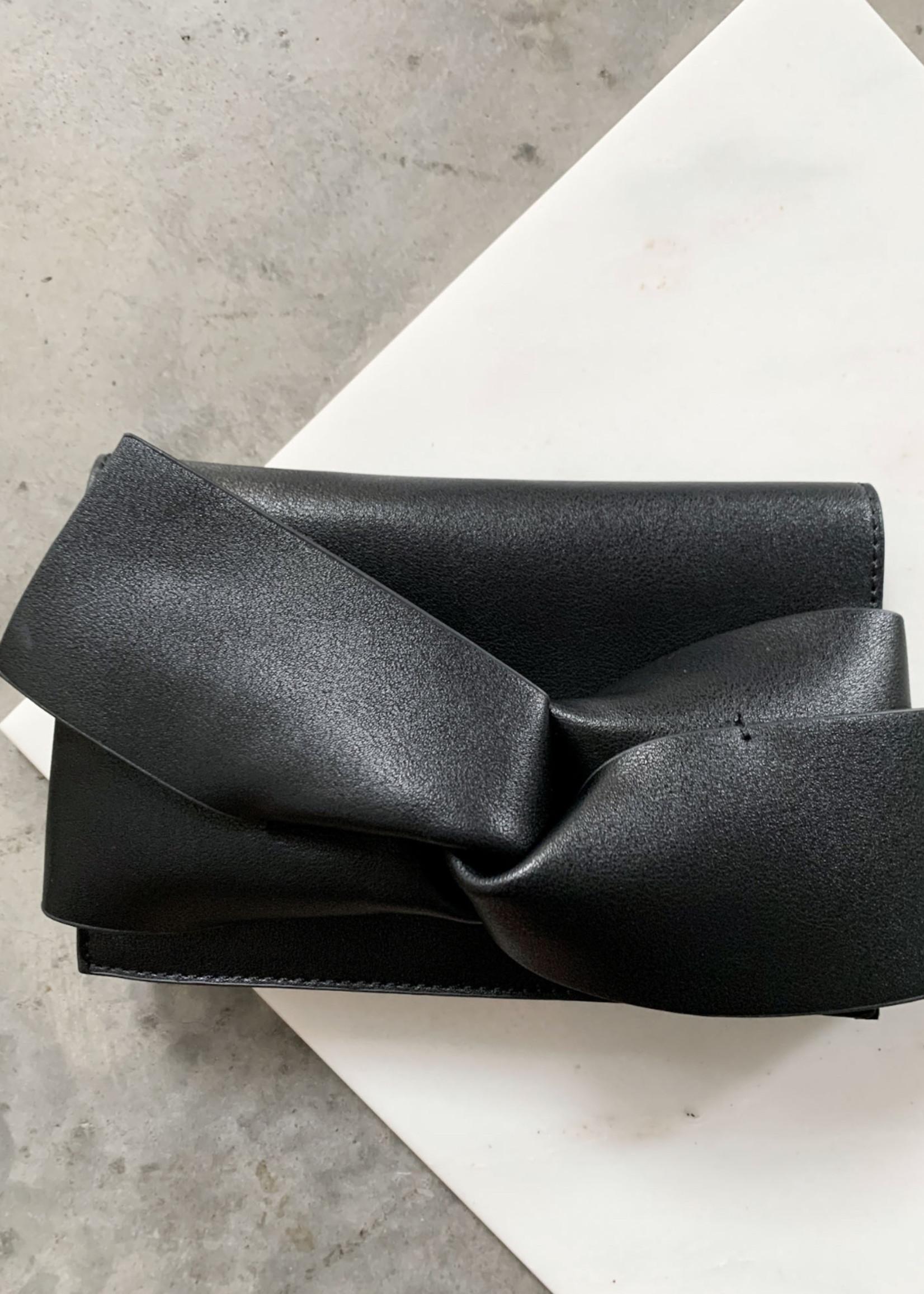 Elitaire Boutique Black Bow Leather Clutch