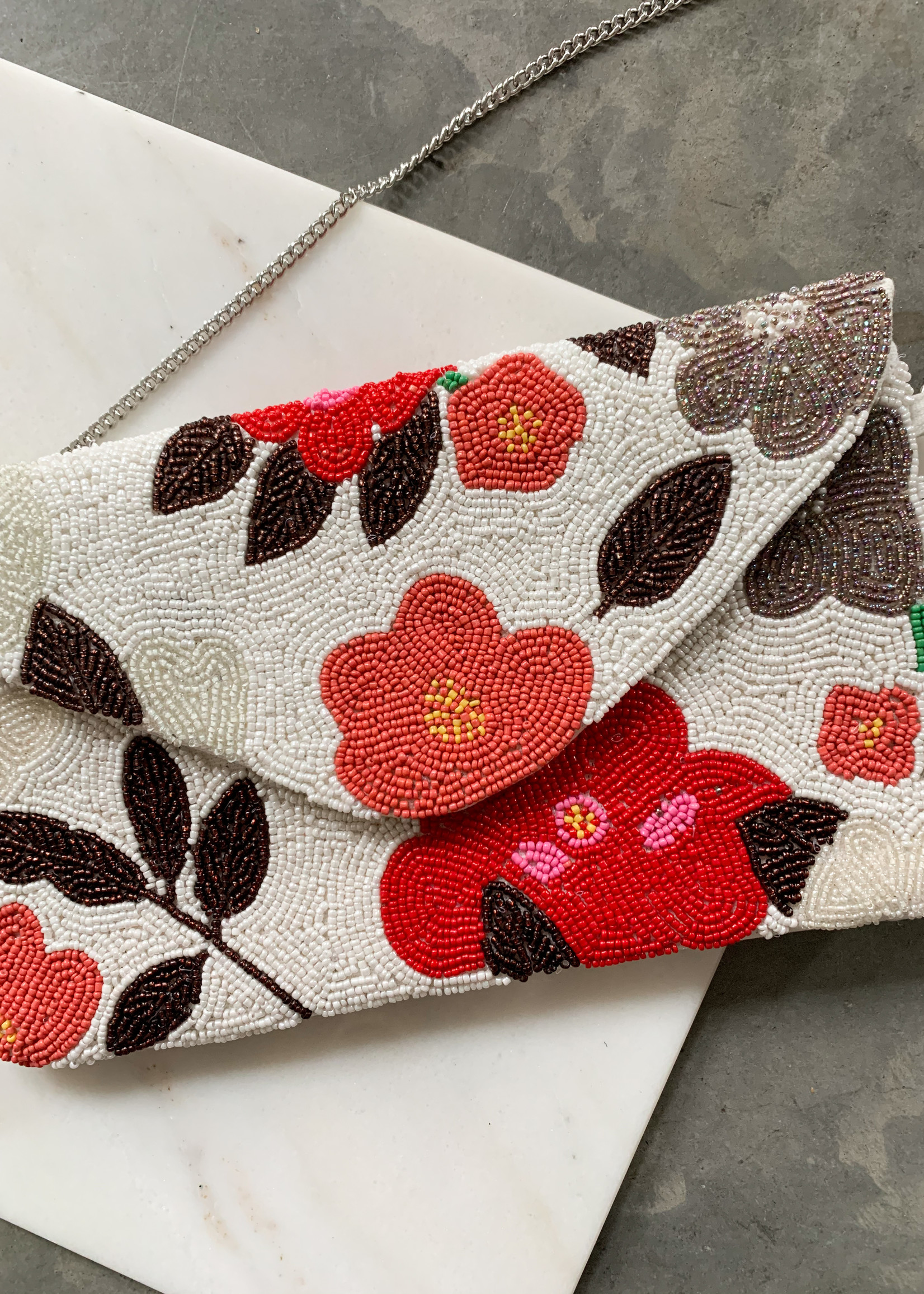 Elitaire Boutique Flower Beaded Clutch