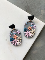 Elitaire Boutique Floral Grey Oval Earrings