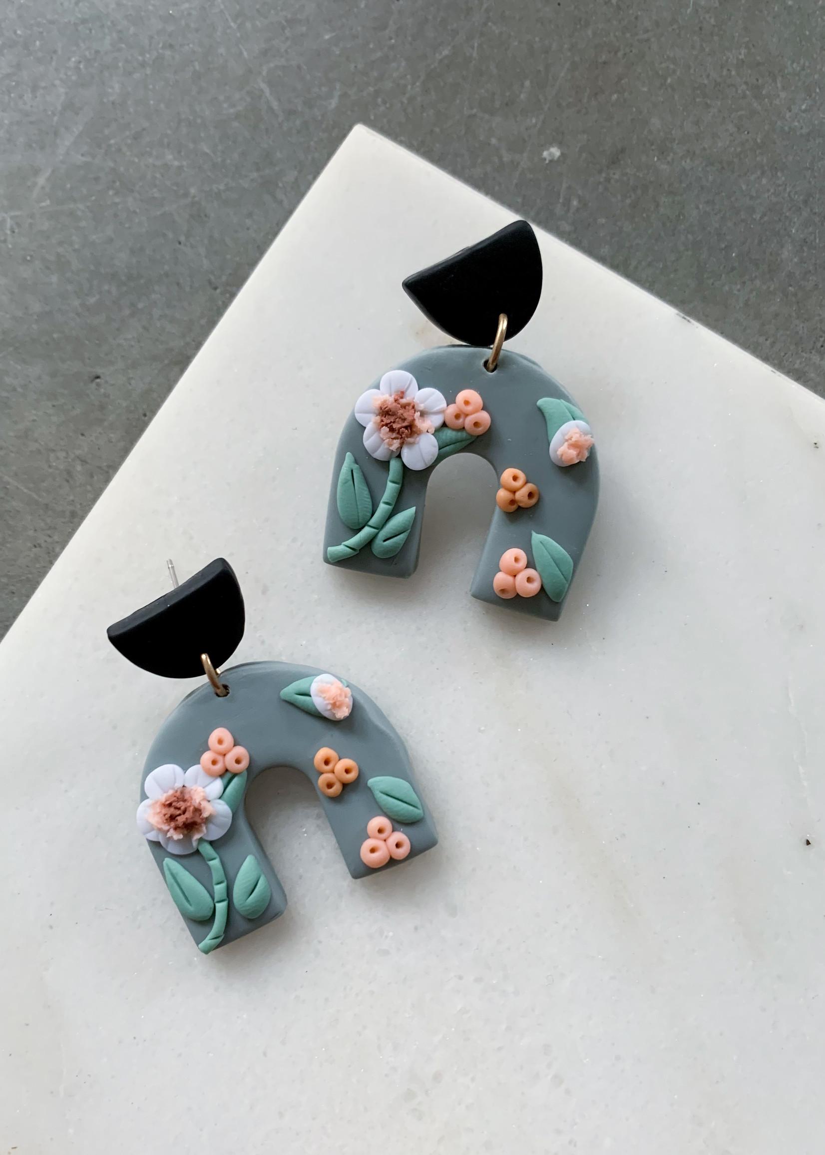 Elitaire Boutique Floral Sage Arch Earrings