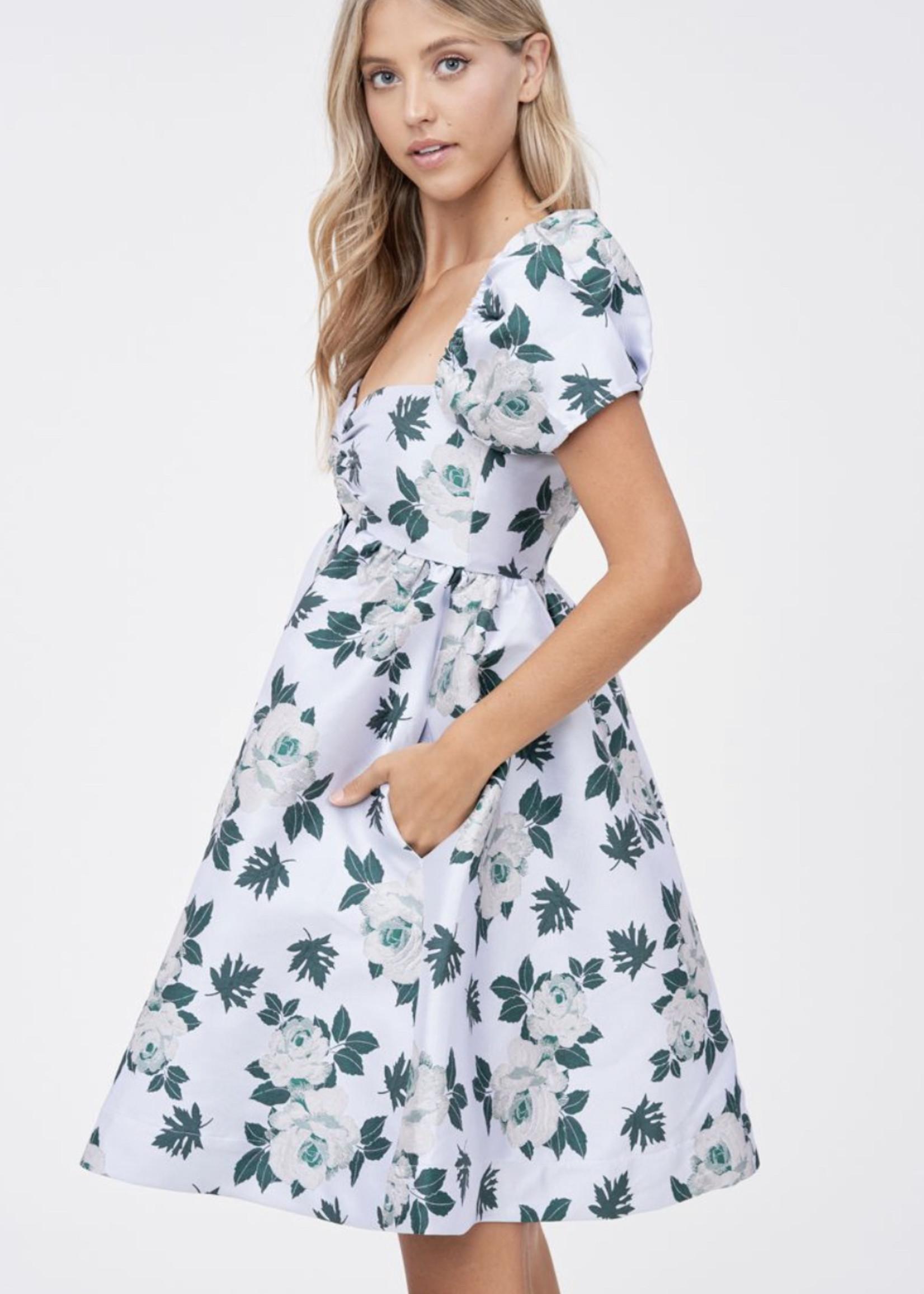 Elitaire Boutique Floral Jacquard Dress
