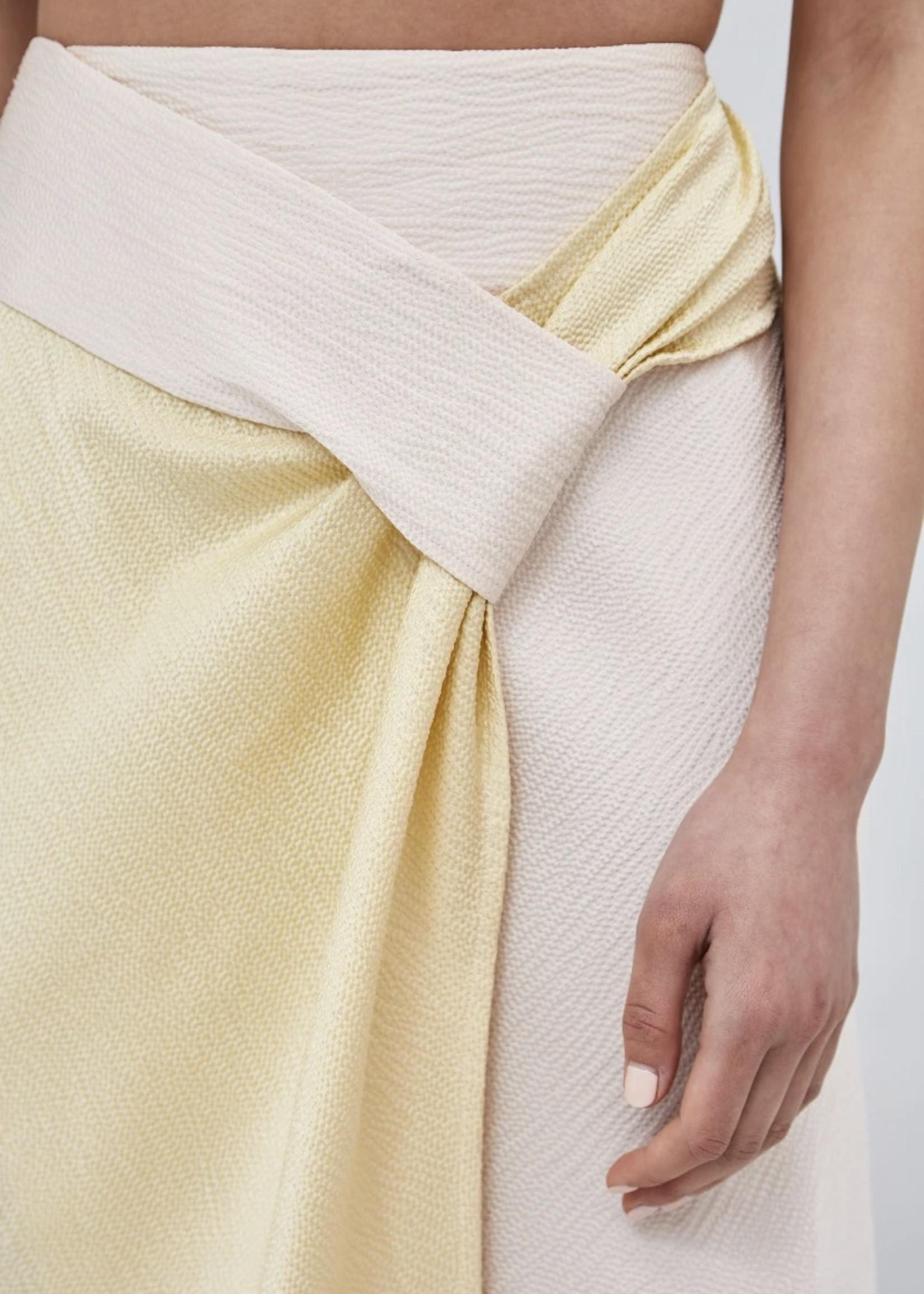 Elitaire Boutique Opposite Sides Ecru  Skirt w/ Limoncello
