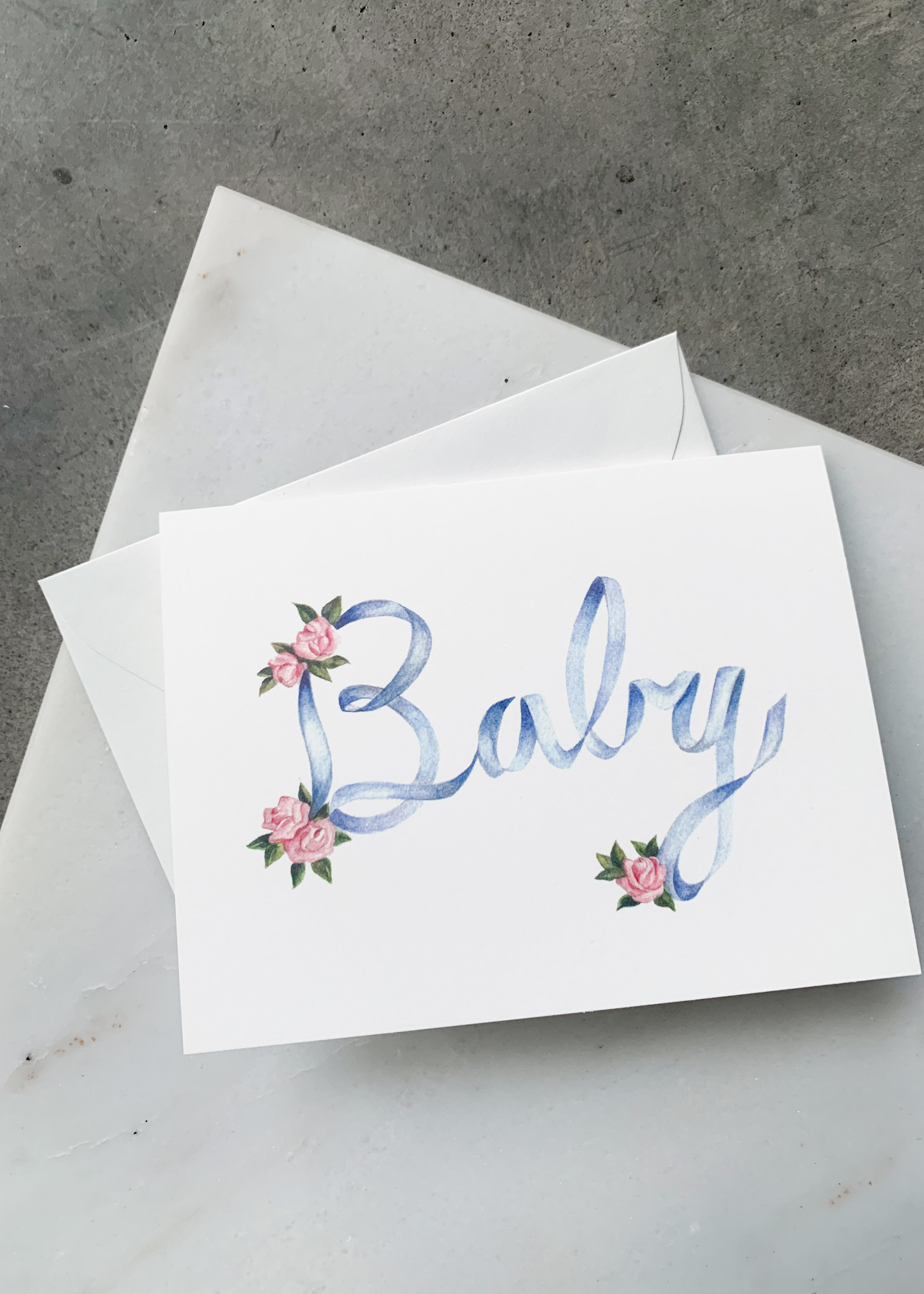 Elitaire Petite Ribbons and Roses Baby Card