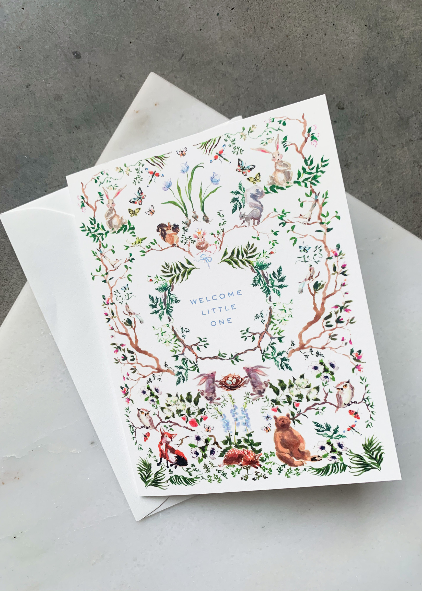 Elitaire Petite Woodland Baby Card Blue