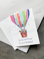 Elitaire Petite Hot Air Balloon Baby Birthday Card