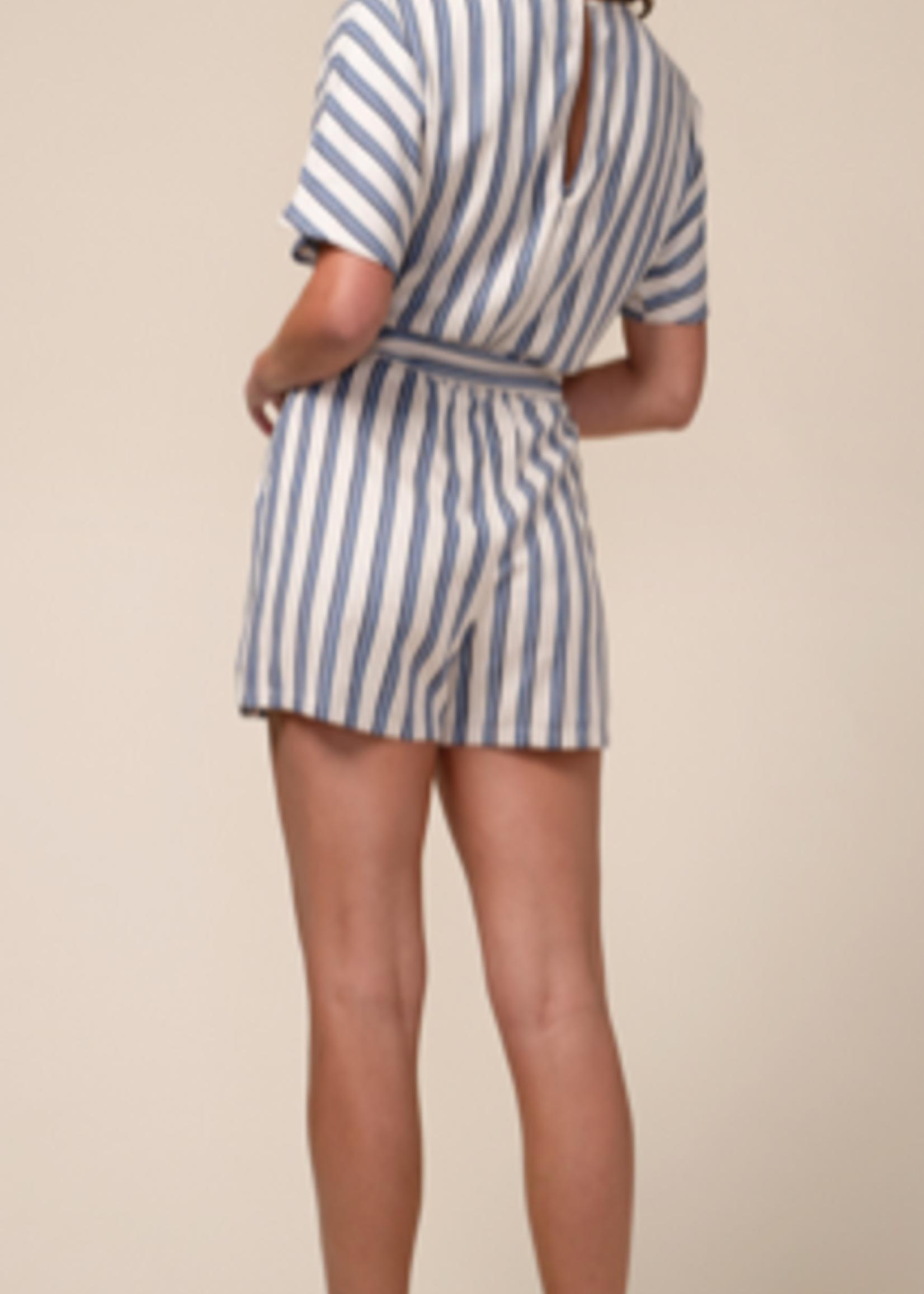 Elitaire Boutique Blue Striped Cotton Romper