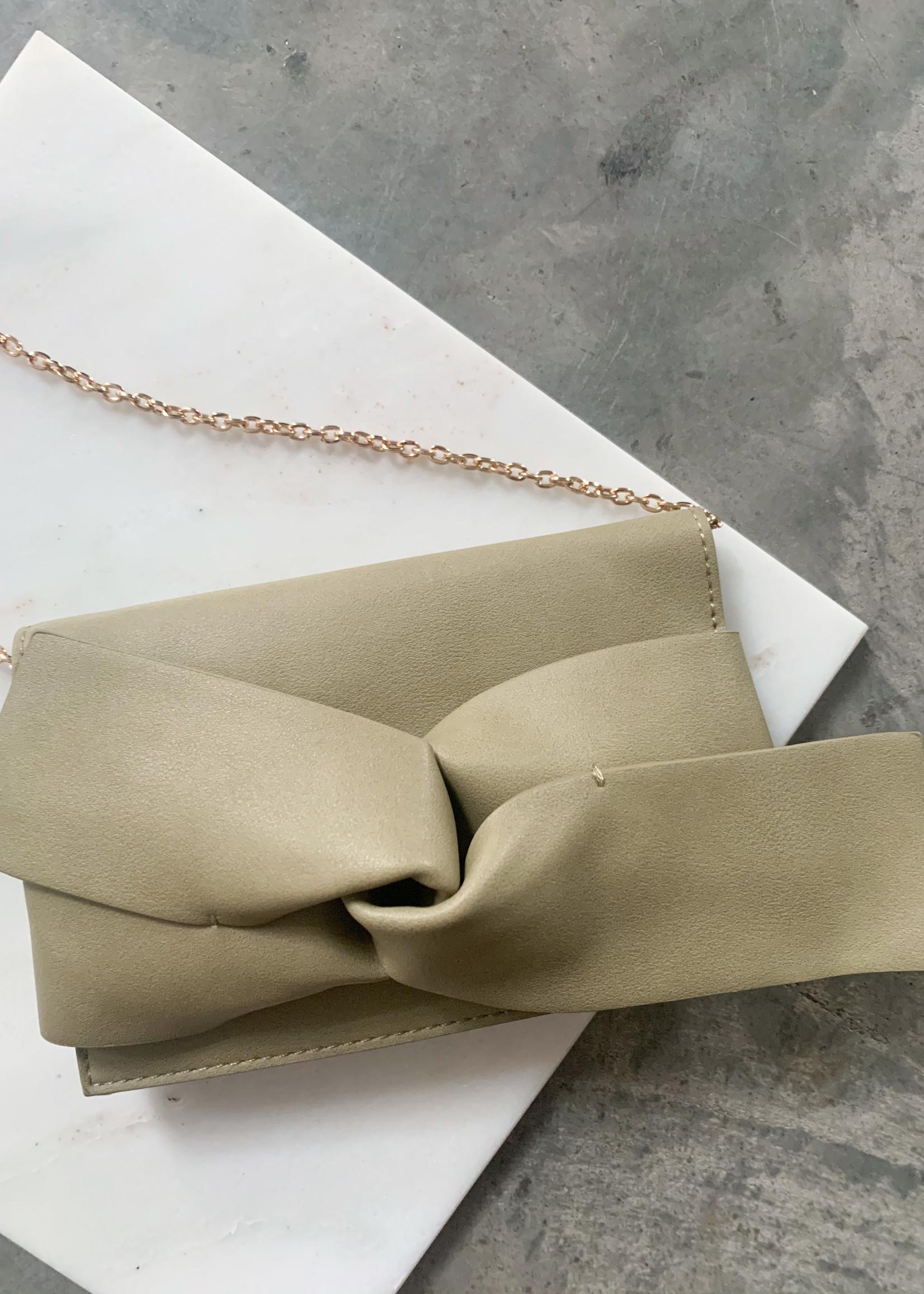 Elitaire Boutique Sage Bow Leather Clutch