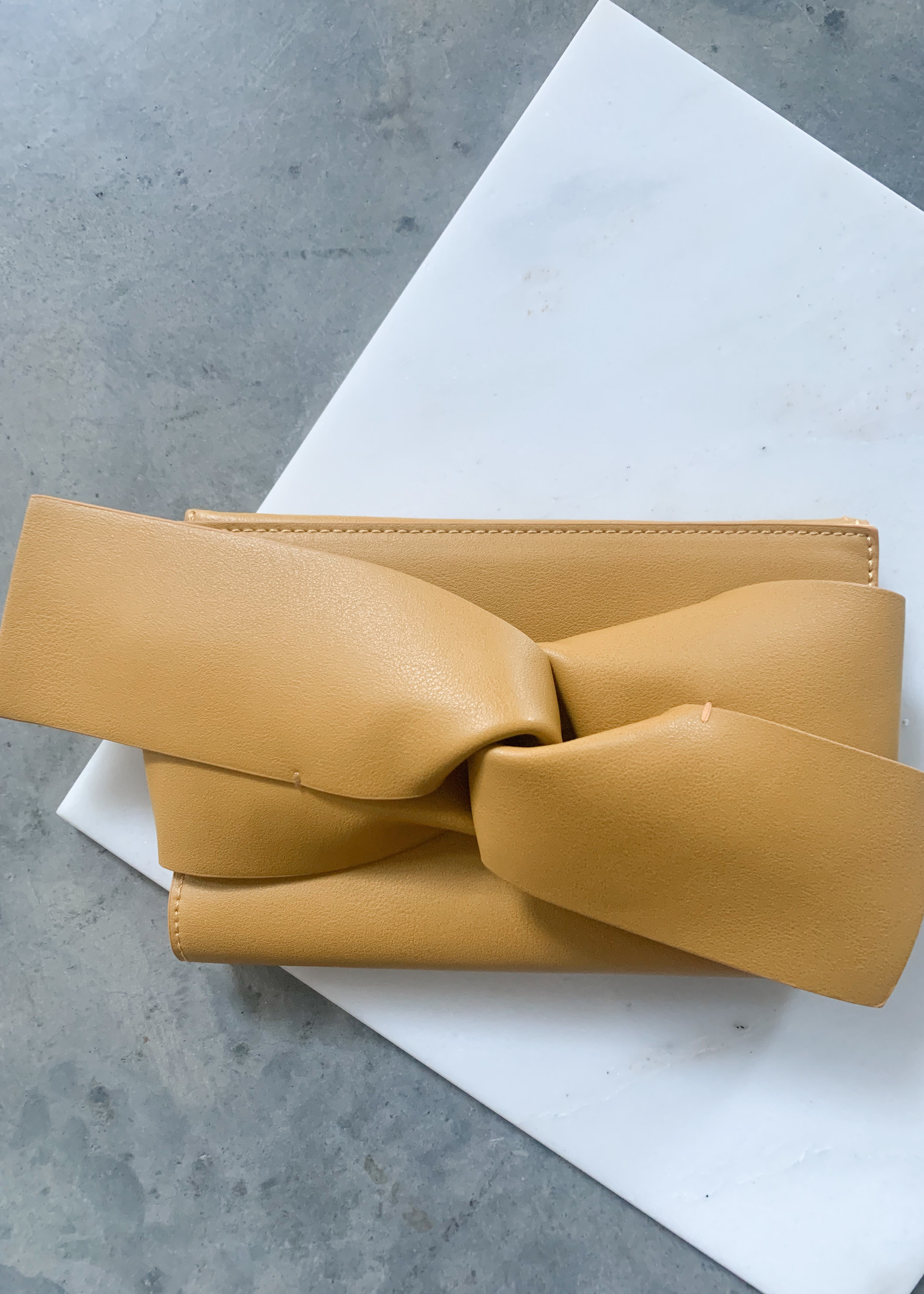 Elitaire Boutique Mustard Bow Leather Clutch