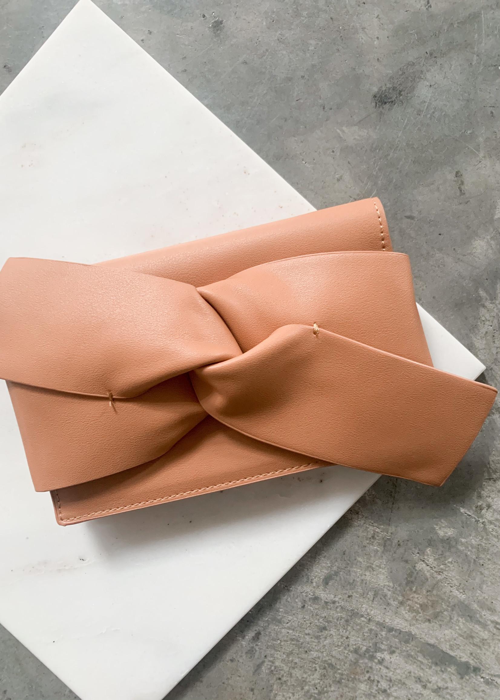 Elitaire Boutique Tan Bow Leather Clutch