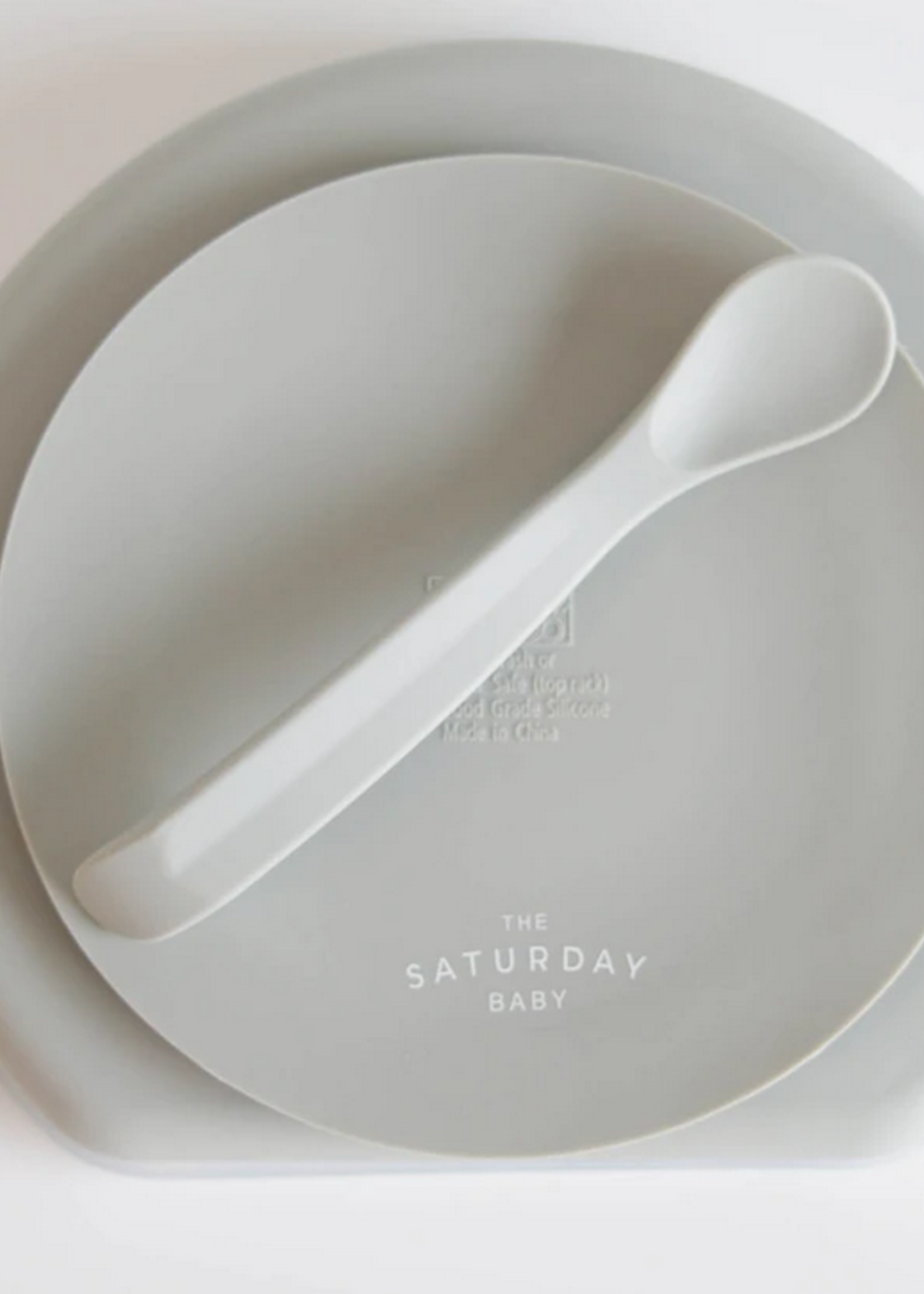 Elitaire Petite Sage Silicone Suction Plate with Lid + Spoon