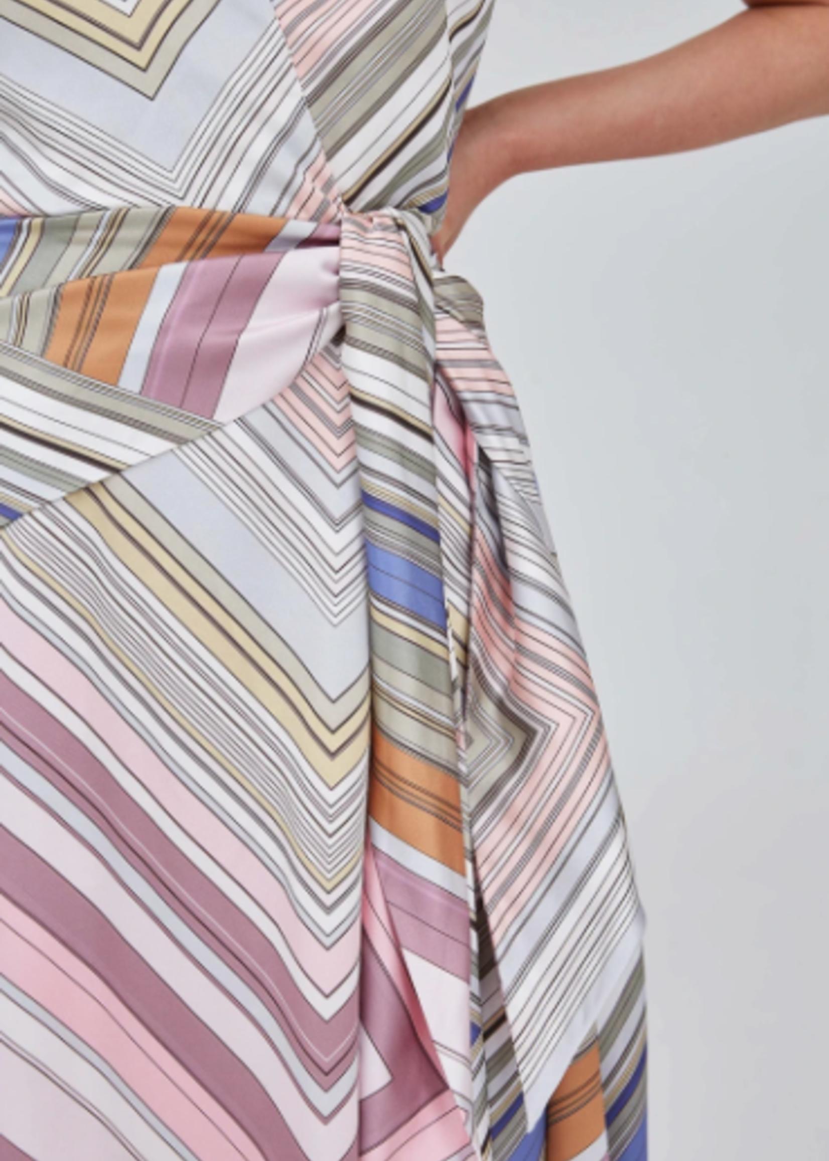 Elitaire Boutique Burning Midi Dress in Multi Stripe