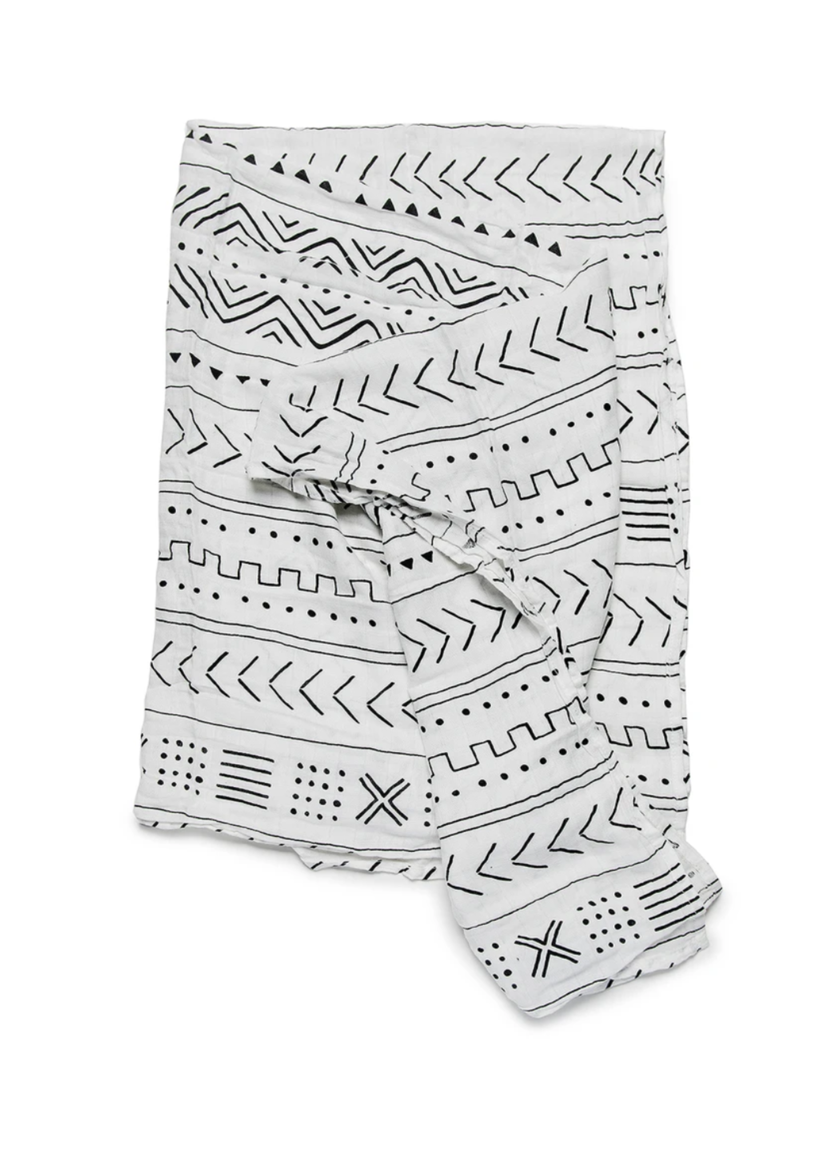 Elitaire Petite Muslin Swaddle - White Mudcloth