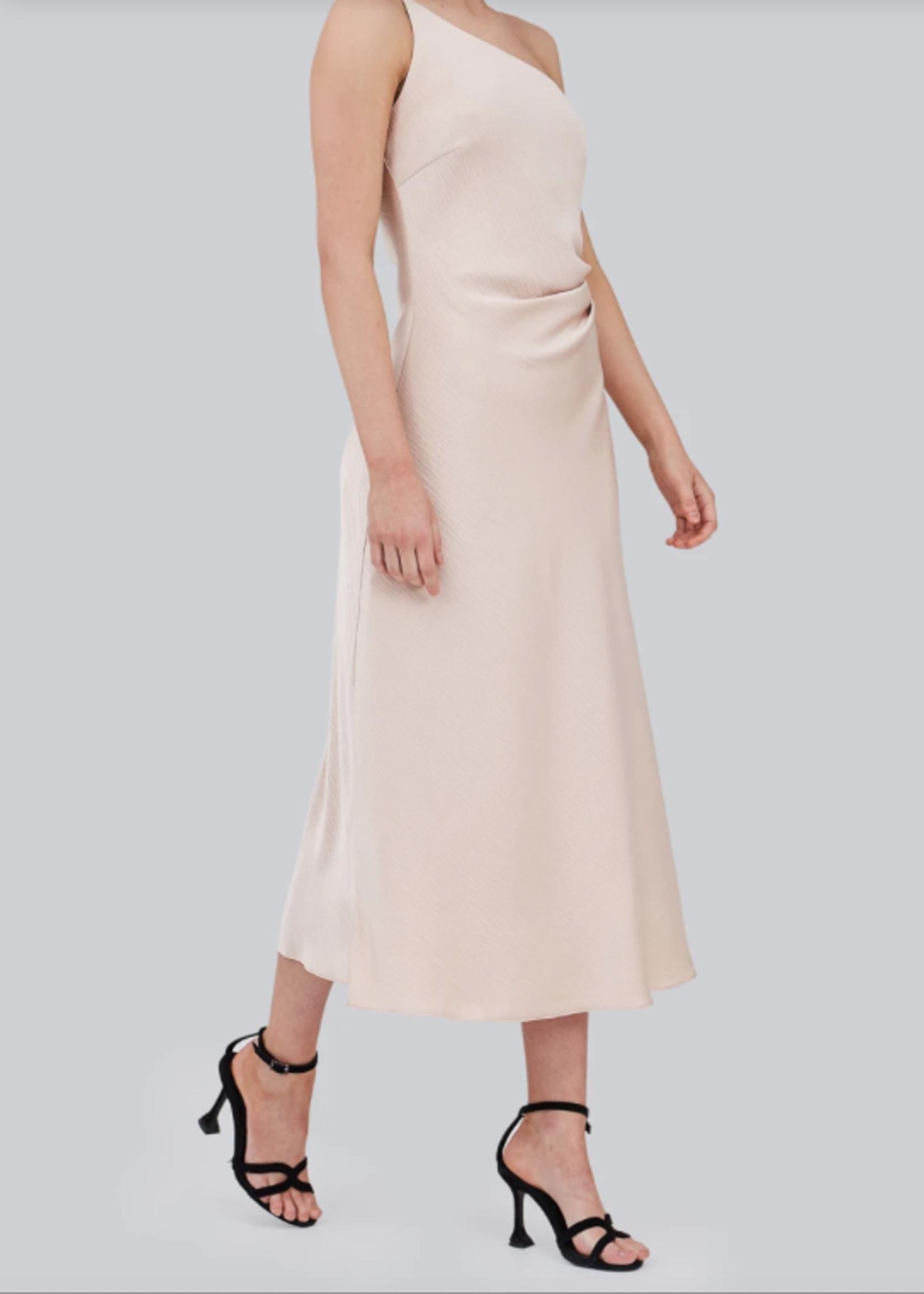 Elitaire Boutique The Avenue Midi Dress in Champagne