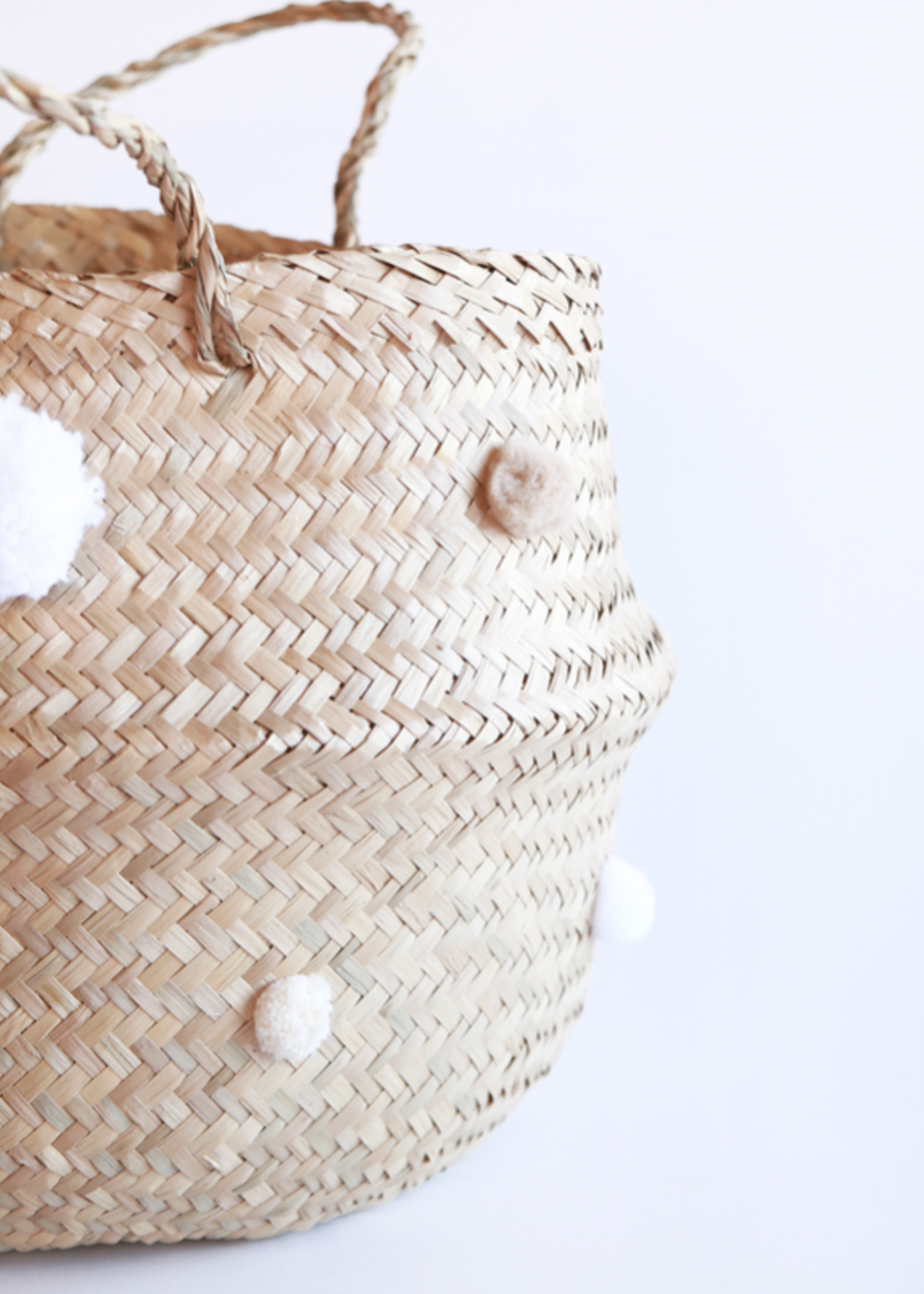 Elitaire Petite White Pom Pom Basket